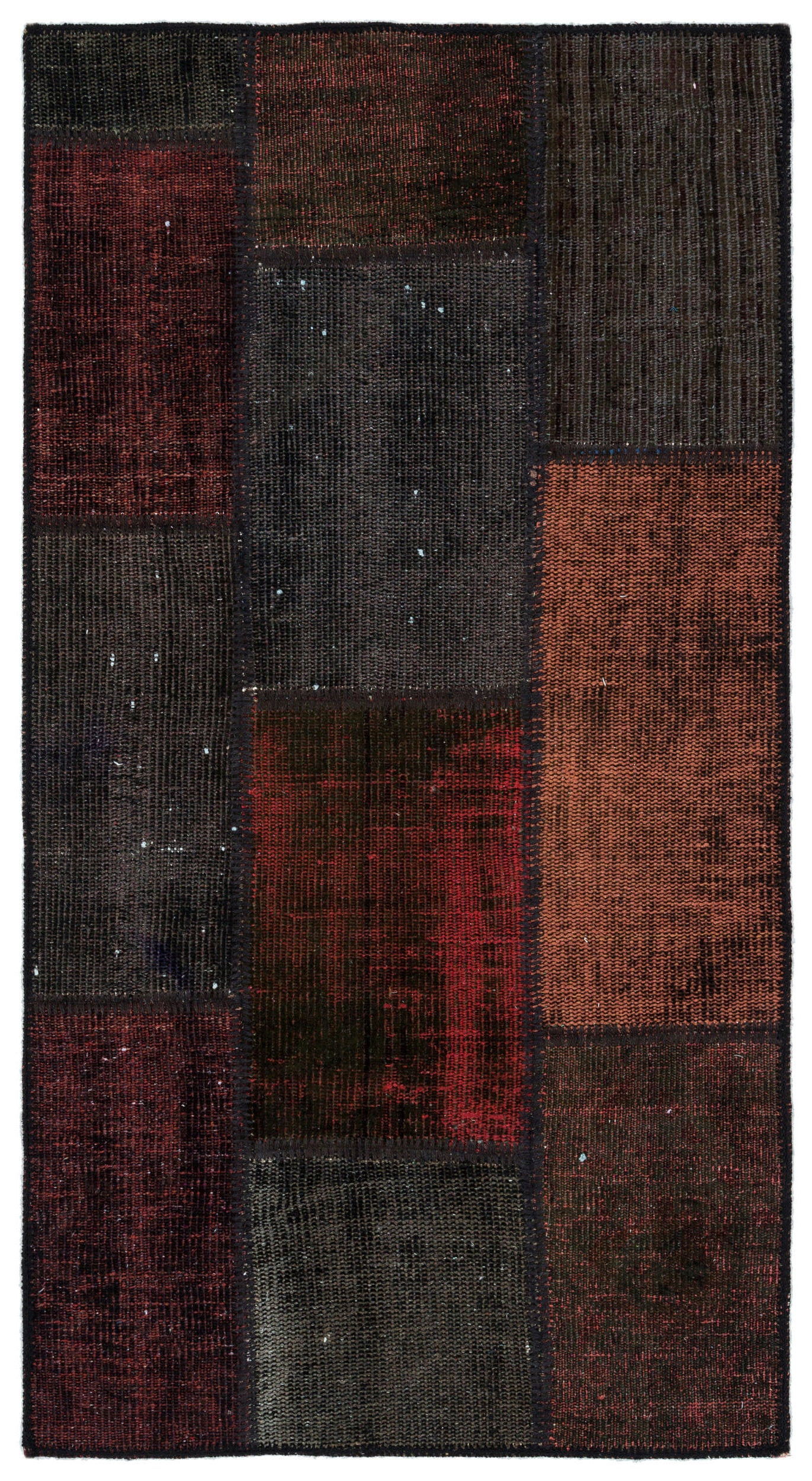 Black Over Dyed Patchwork Unique Rug 2'8'' x 5'0'' ft 82 x 153 cm