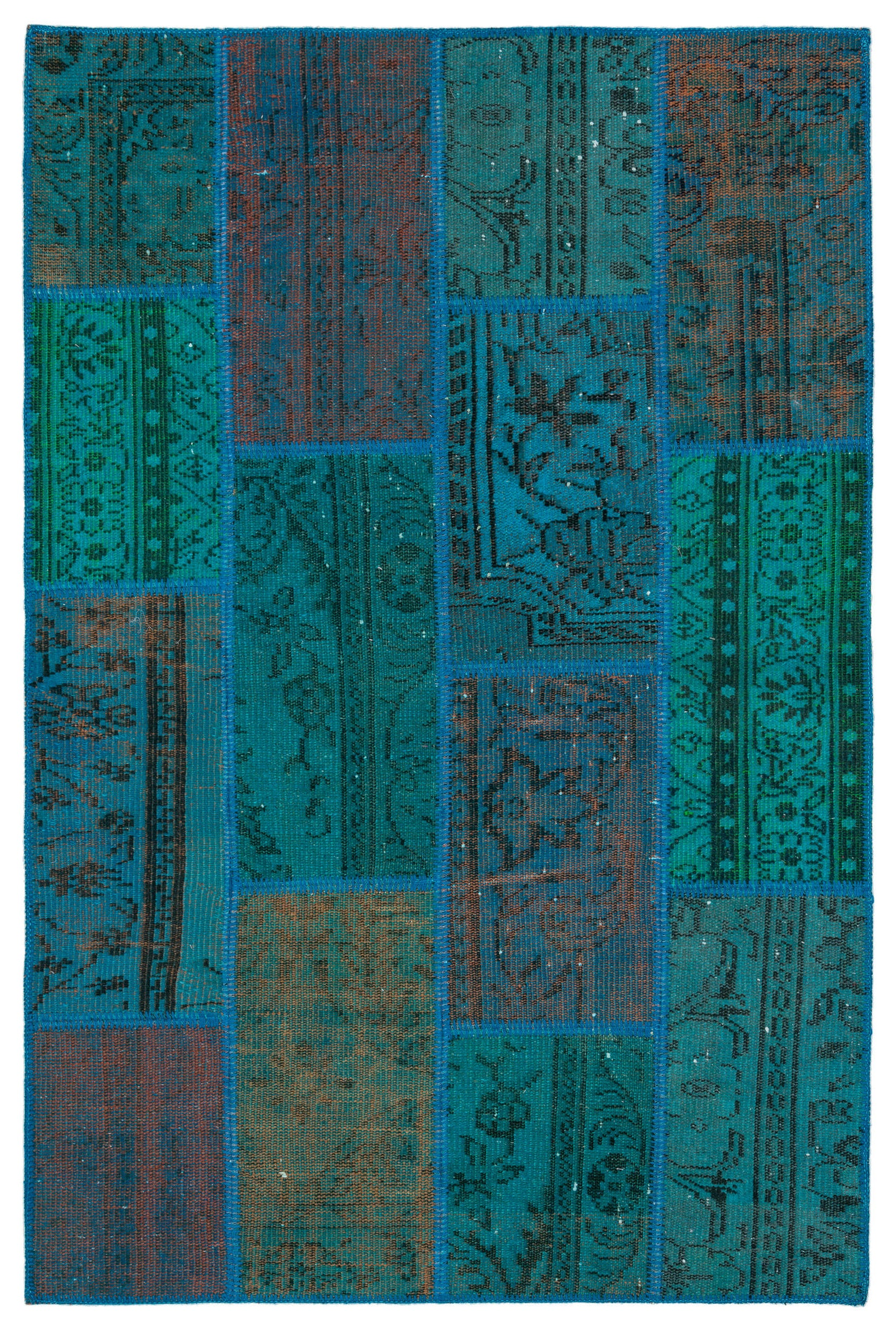 Turquoise  Over Dyed Patchwork Unique Rug 3'11'' x 5'11'' ft 120 x 181 cm