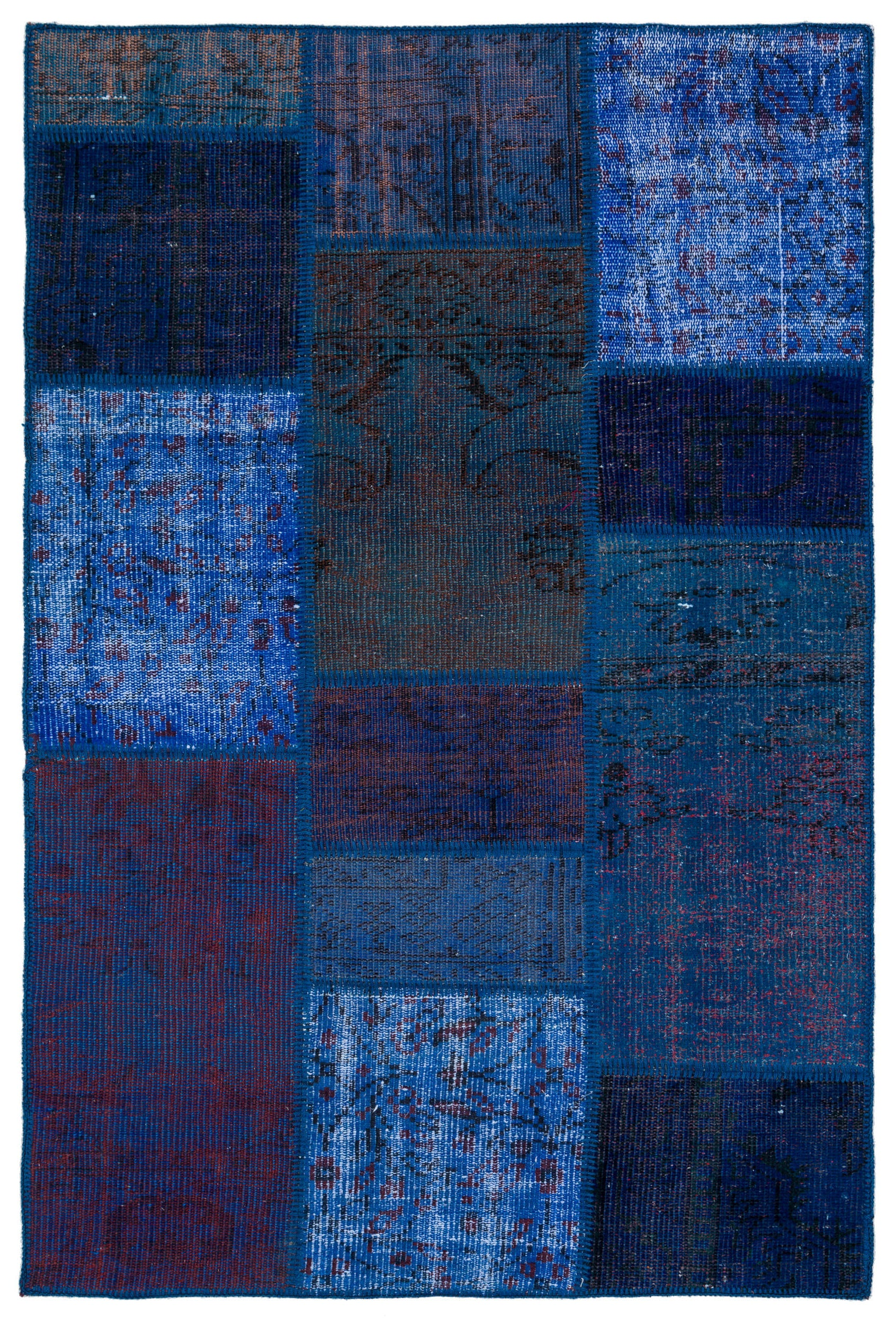 Blue Over Dyed Patchwork Unique Rug 3'10'' x 5'10'' ft 118 x 177 cm