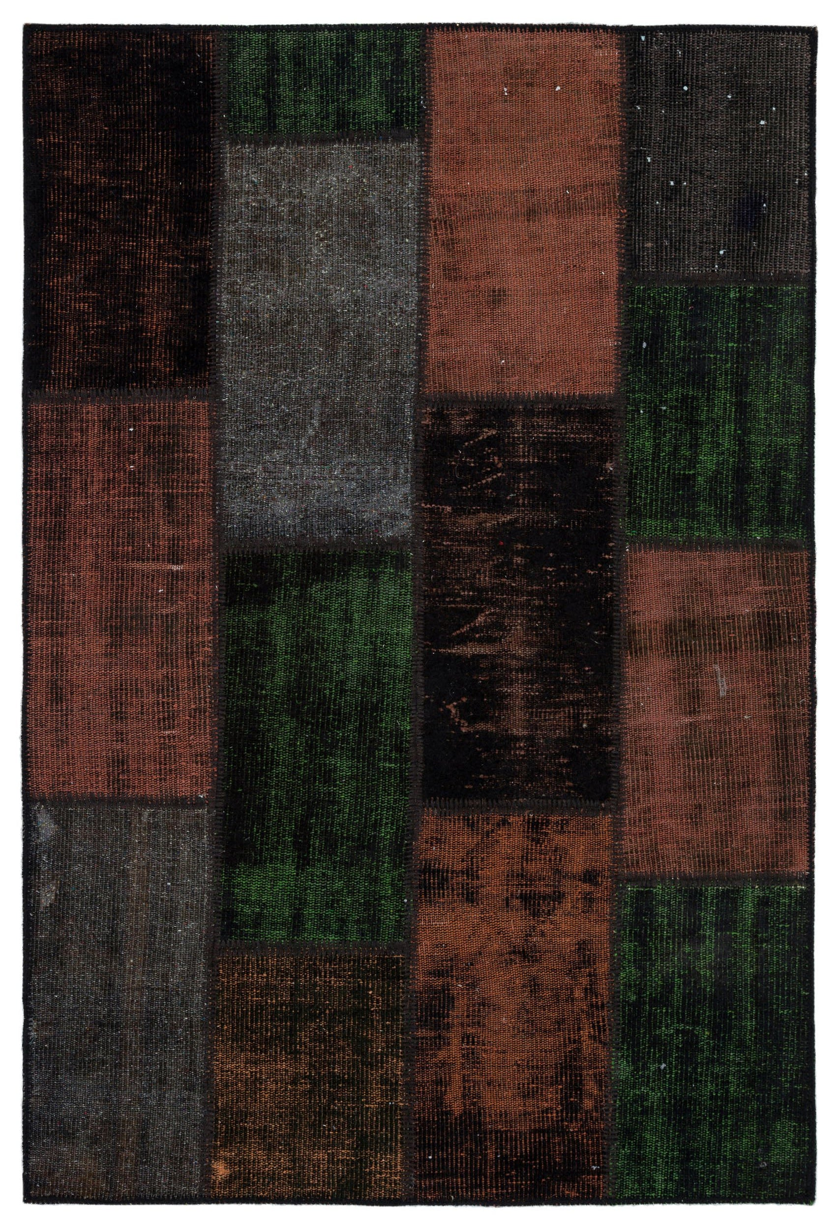 Brown Over Dyed Patchwork Unique Rug 4'0'' x 5'11'' ft 122 x 181 cm