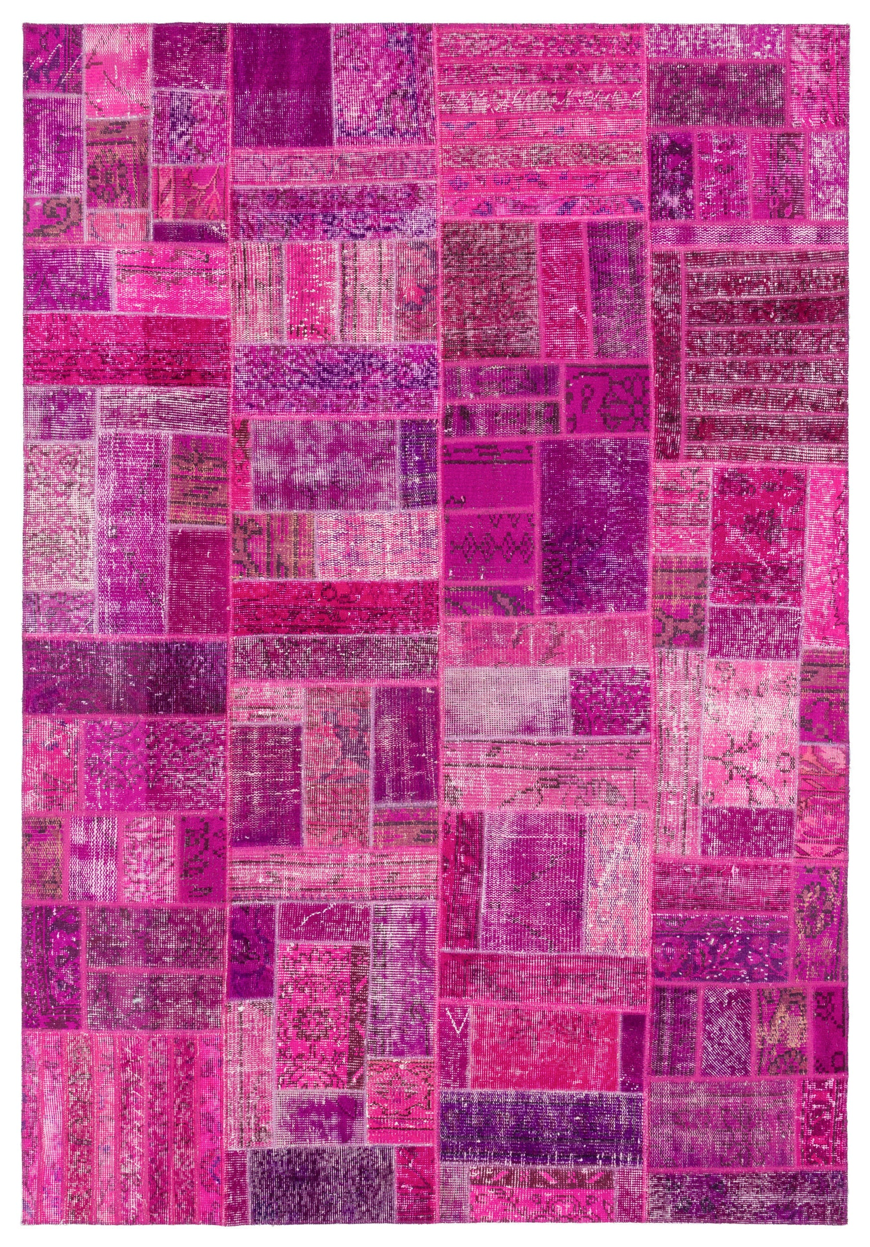Fuchsia Over Dyed Patchwork Unique Rug 5'3'' x 7'7'' ft 159 x 231 cm