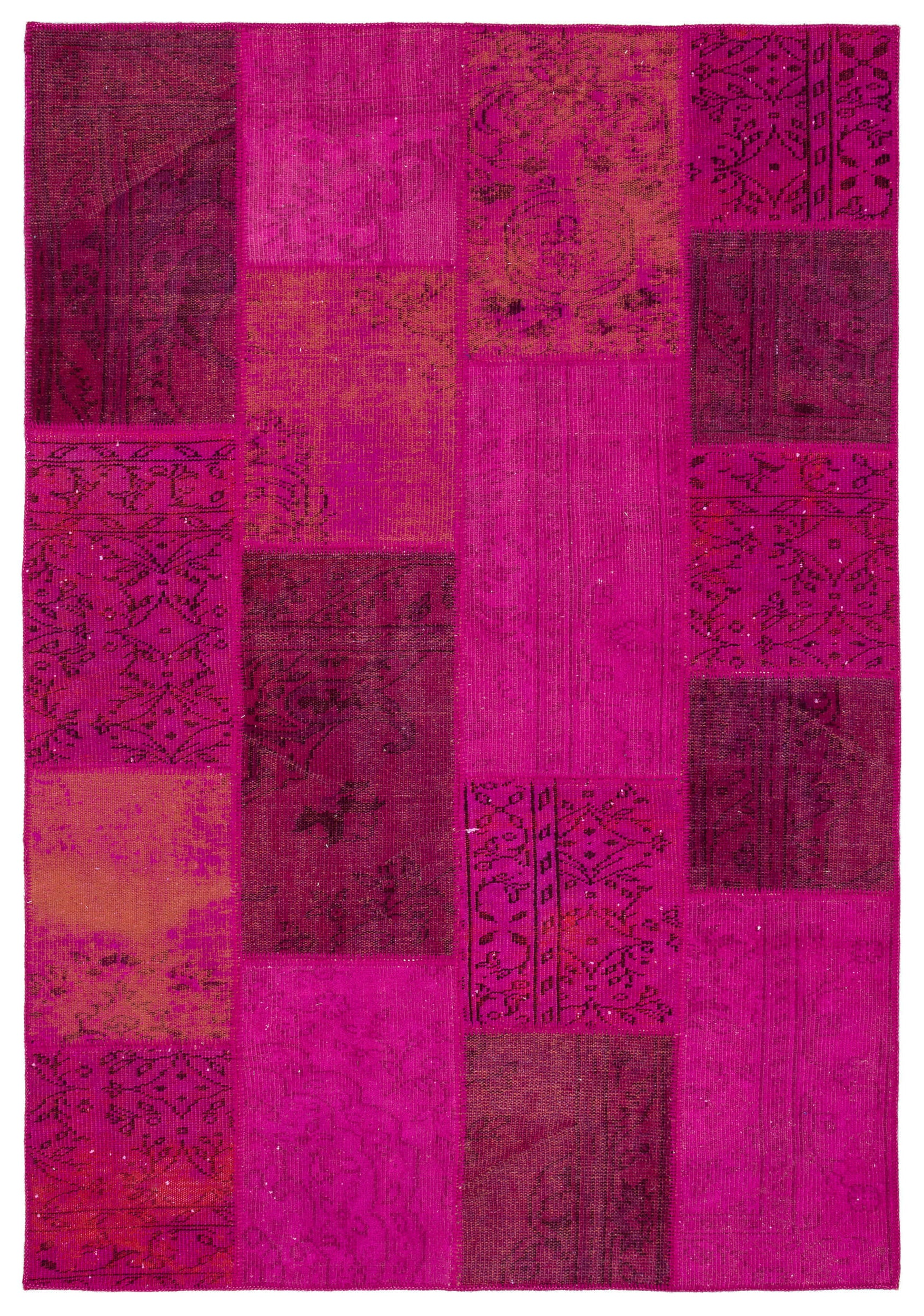 Fuchsia Over Dyed Patchwork Unique Rug 5'3'' x 7'8'' ft 161 x 233 cm