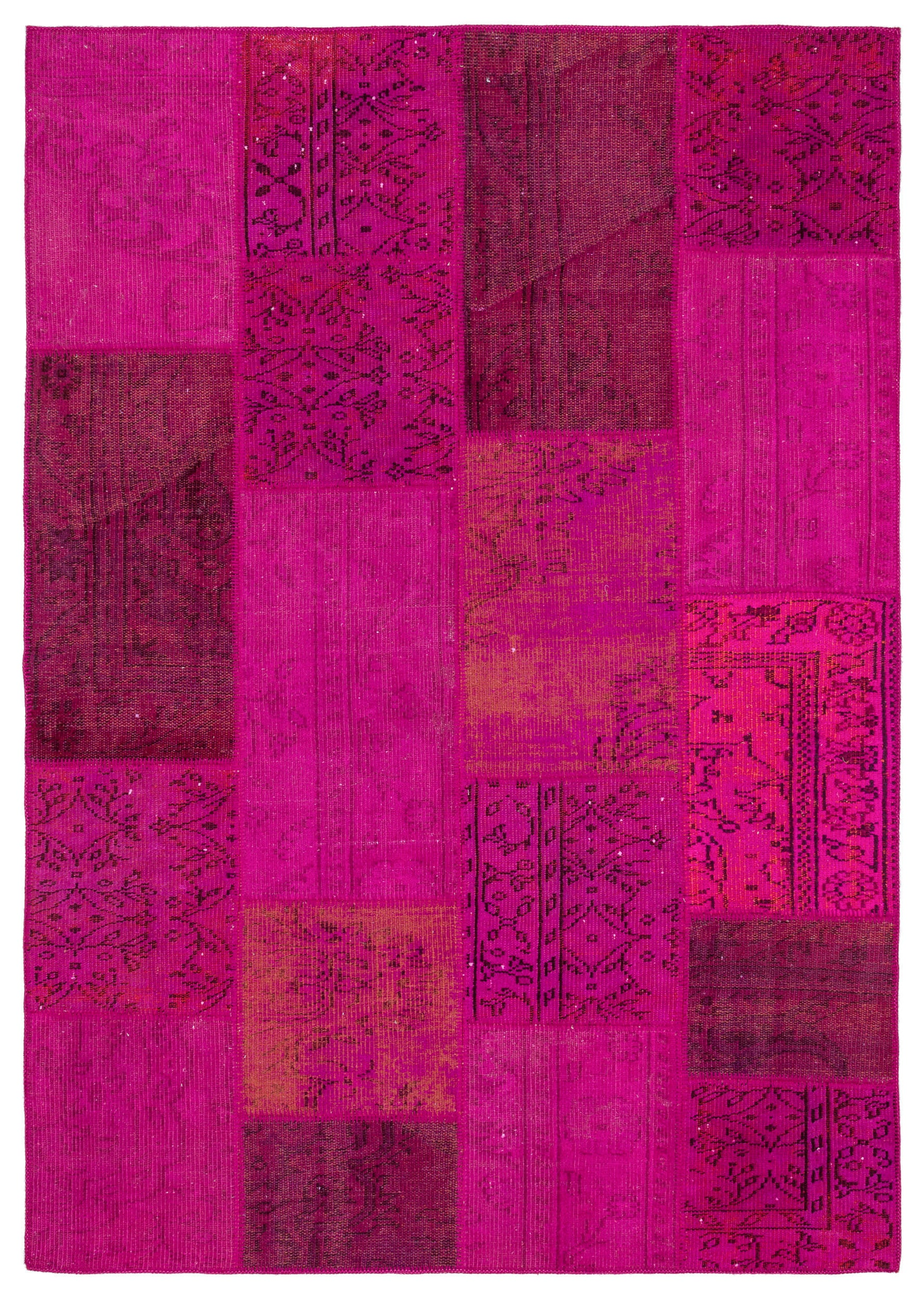 Fuchsia Over Dyed Patchwork Unique Rug 5'4'' x 7'7'' ft 162 x 230 cm