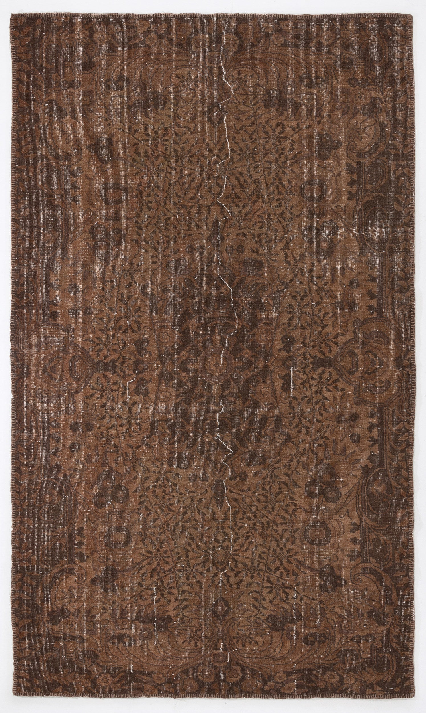 Brown Over Dyed Vintage Rug 5'4'' x 8'12'' ft 163 x 274 cm