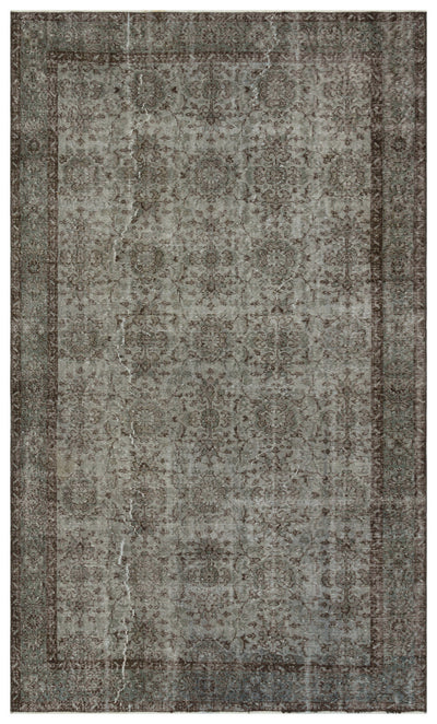 Gray Over Dyed Vintage Rug 5'8'' x 9'9'' ft 173 x 296 cm