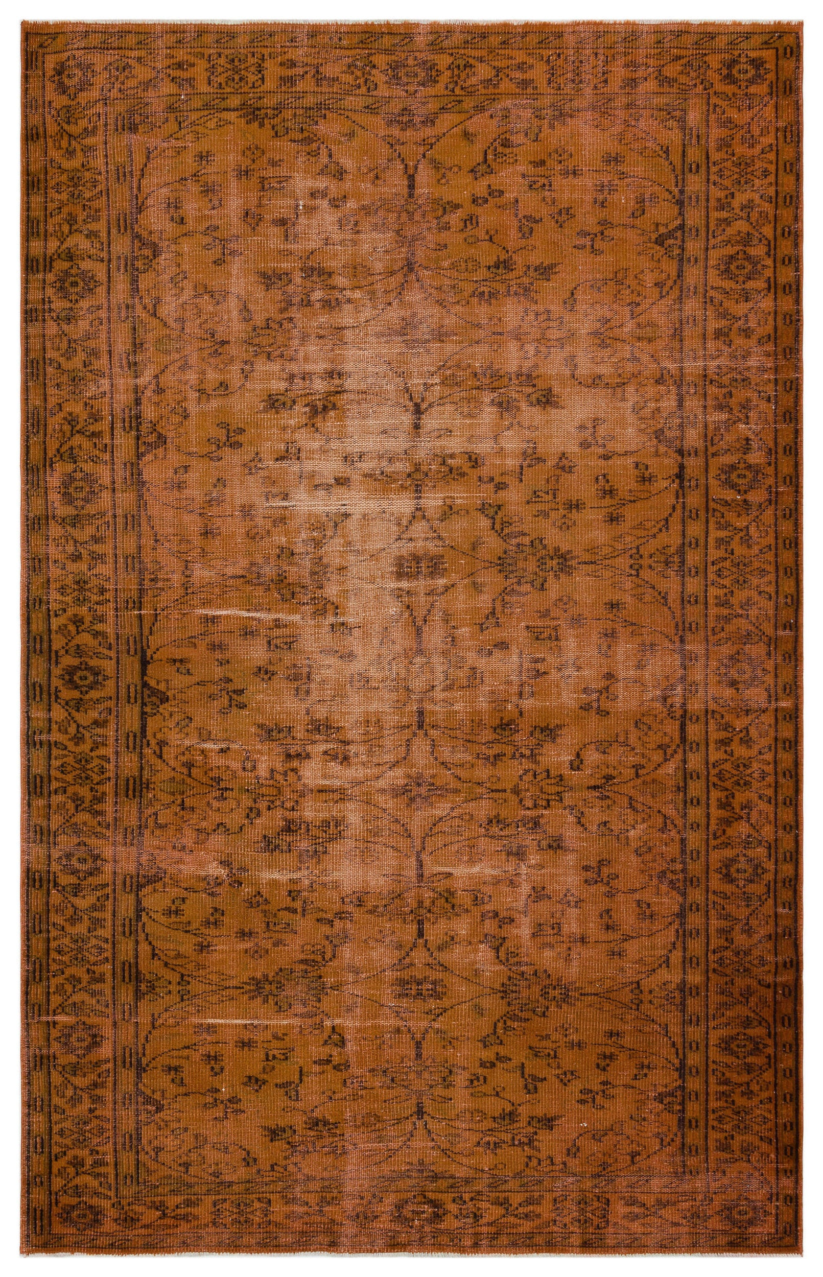 Brown Over Dyed Vintage Rug 5'10'' x 9'1'' ft 177 x 277 cm