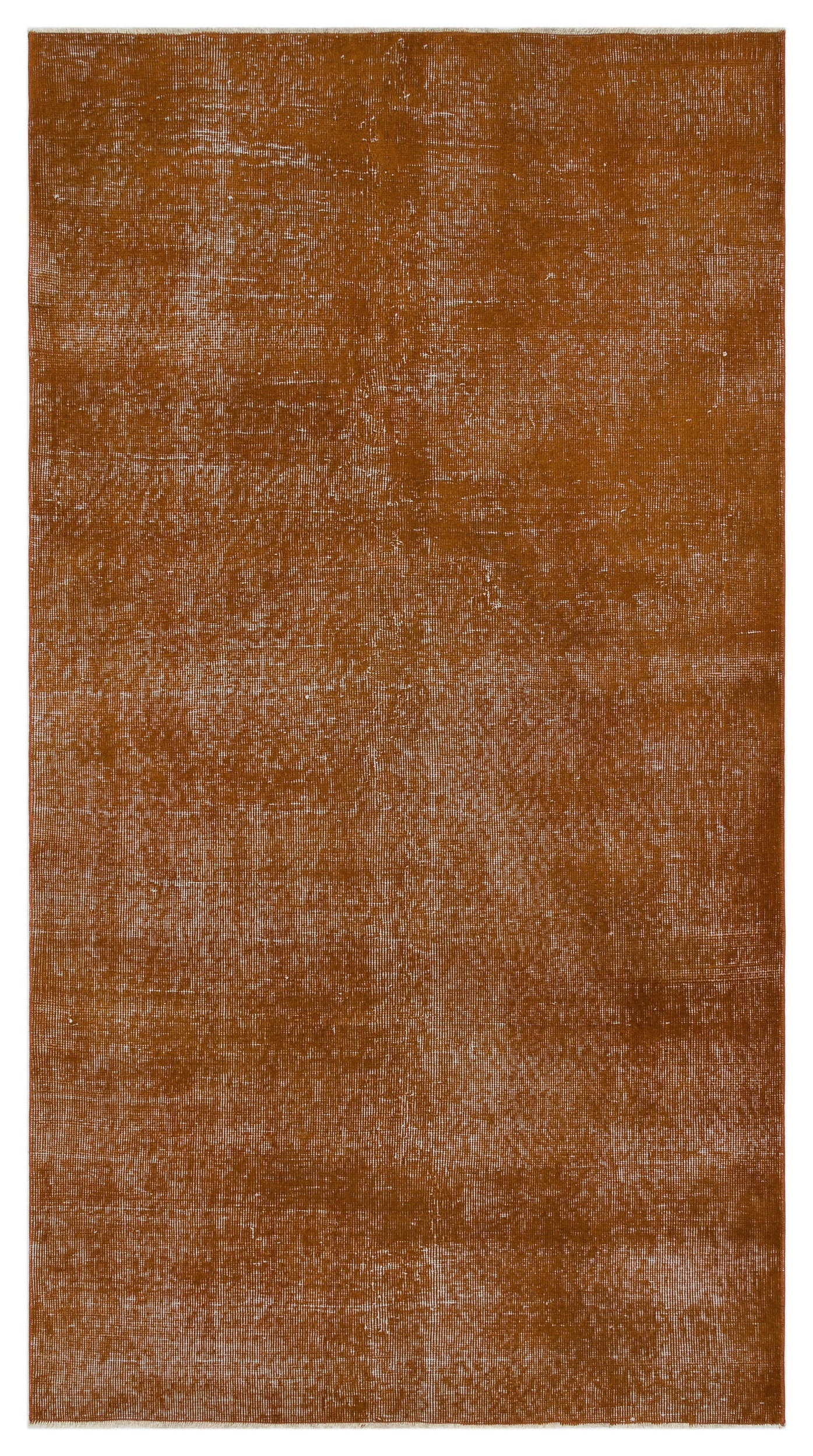 Brown Over Dyed Vintage Rug 4'1'' x 7'3'' ft 125 x 222 cm