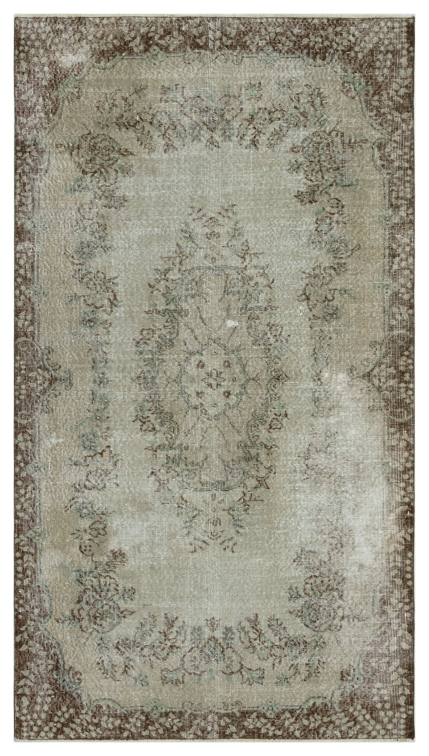 Gray Over Dyed Vintage Rug 4'4'' x 7'7'' ft 131 x 232 cm
