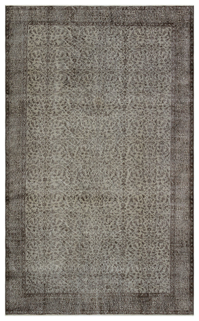 Gray Over Dyed Vintage Rug 5'7'' x 9'4'' ft 171 x 285 cm
