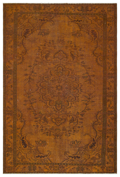 Brown Over Dyed Vintage Rug 5'12'' x 9'0'' ft 182 x 275 cm