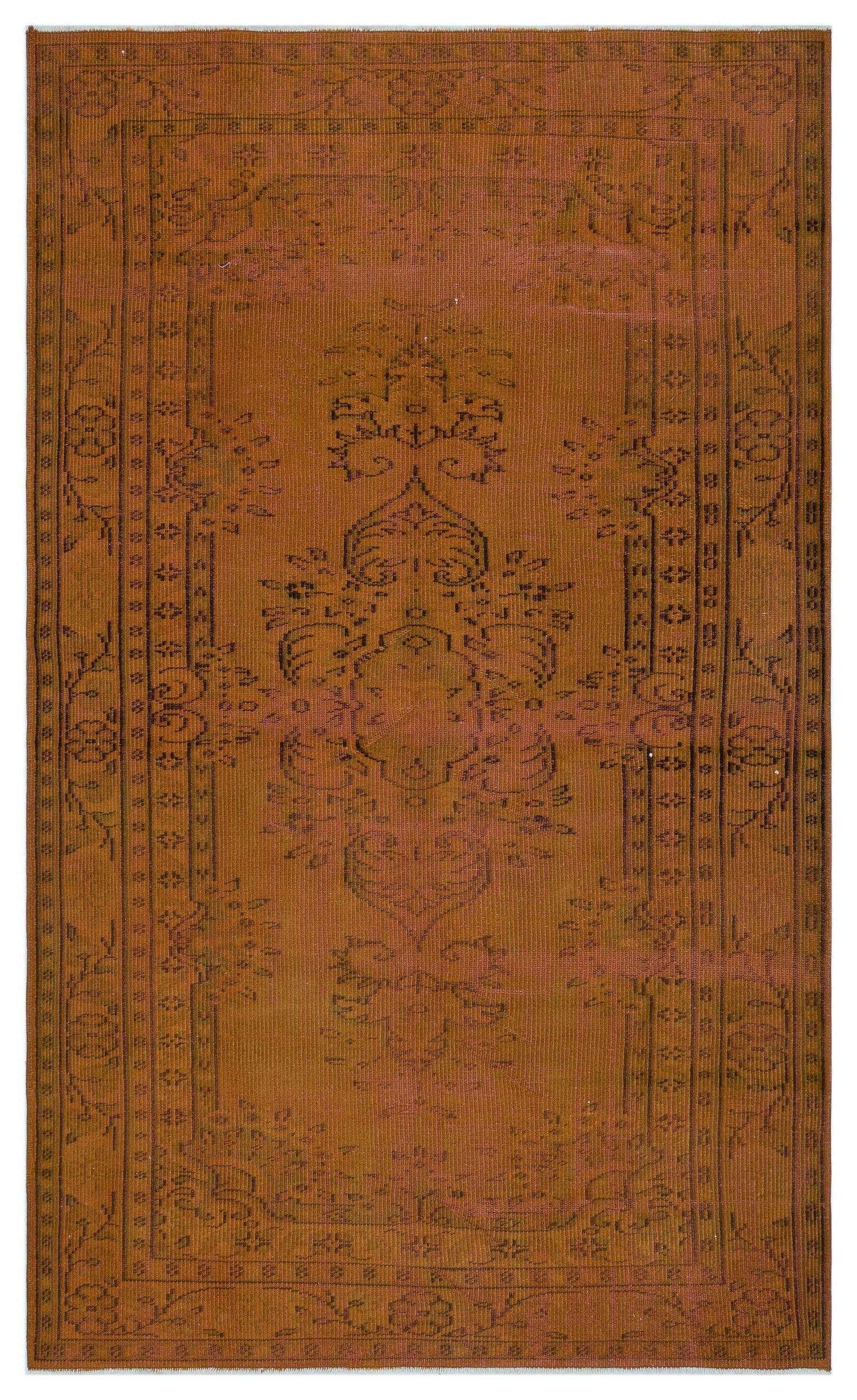 Brown Over Dyed Vintage Rug 4'10'' x 8'0'' ft 148 x 245 cm
