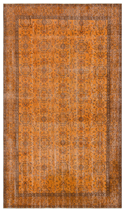 Orange Over Dyed Vintage Rug 5'5'' x 9'6'' ft 166 x 290 cm