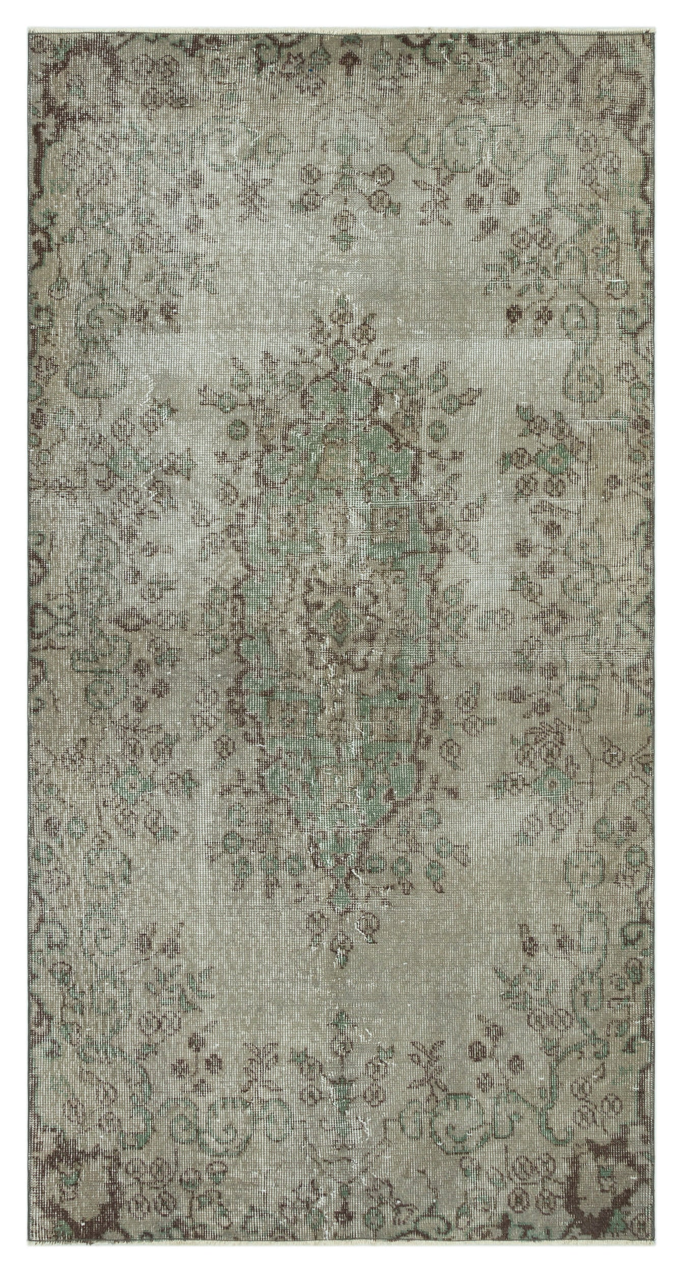 Gray Over Dyed Vintage Rug 3'6'' x 6'8'' ft 107 x 204 cm