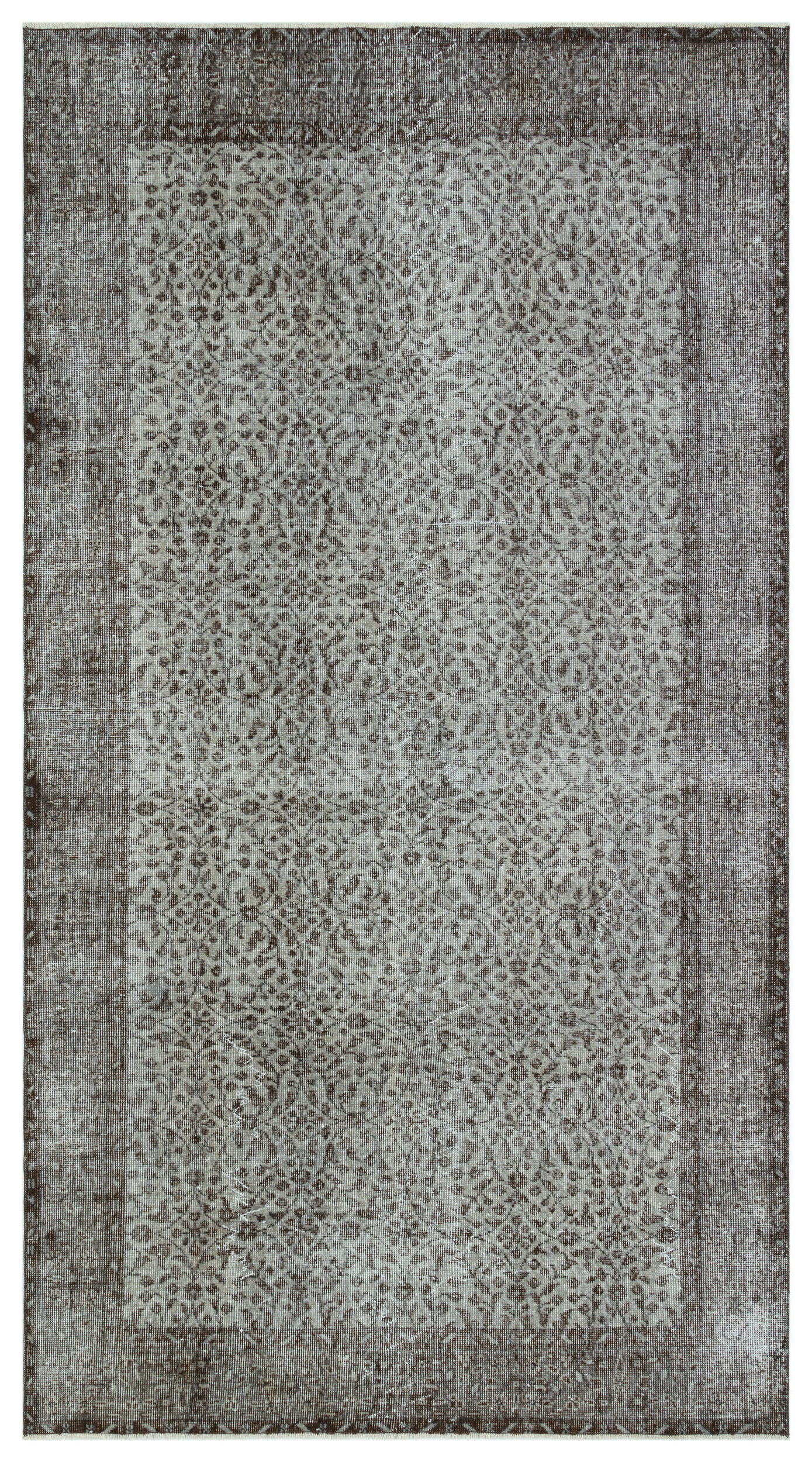 Gray Over Dyed Vintage Rug 5'2'' x 9'4'' ft 157 x 285 cm