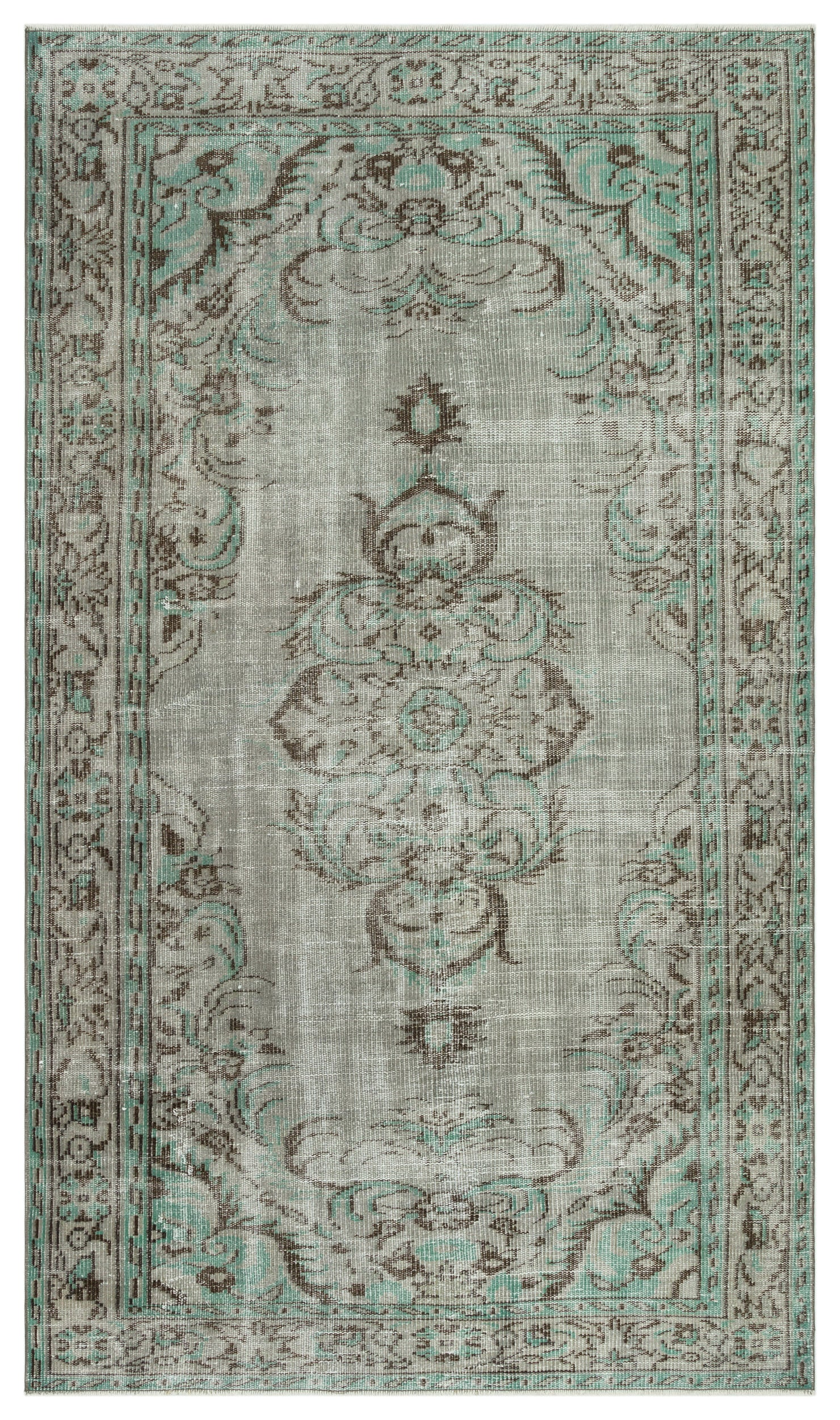 Gray Over Dyed Vintage Rug 4'11'' x 8'4'' ft 150 x 254 cm