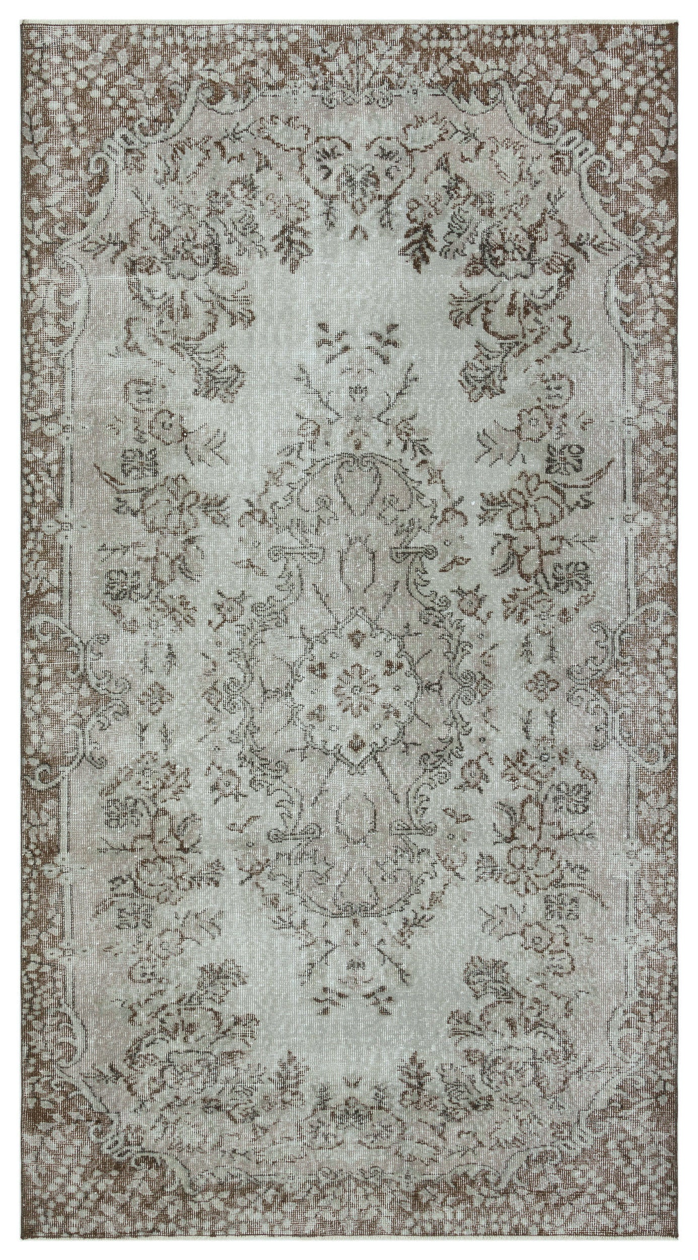 Gray Over Dyed Vintage Rug 4'11'' x 9'1'' ft 150 x 277 cm