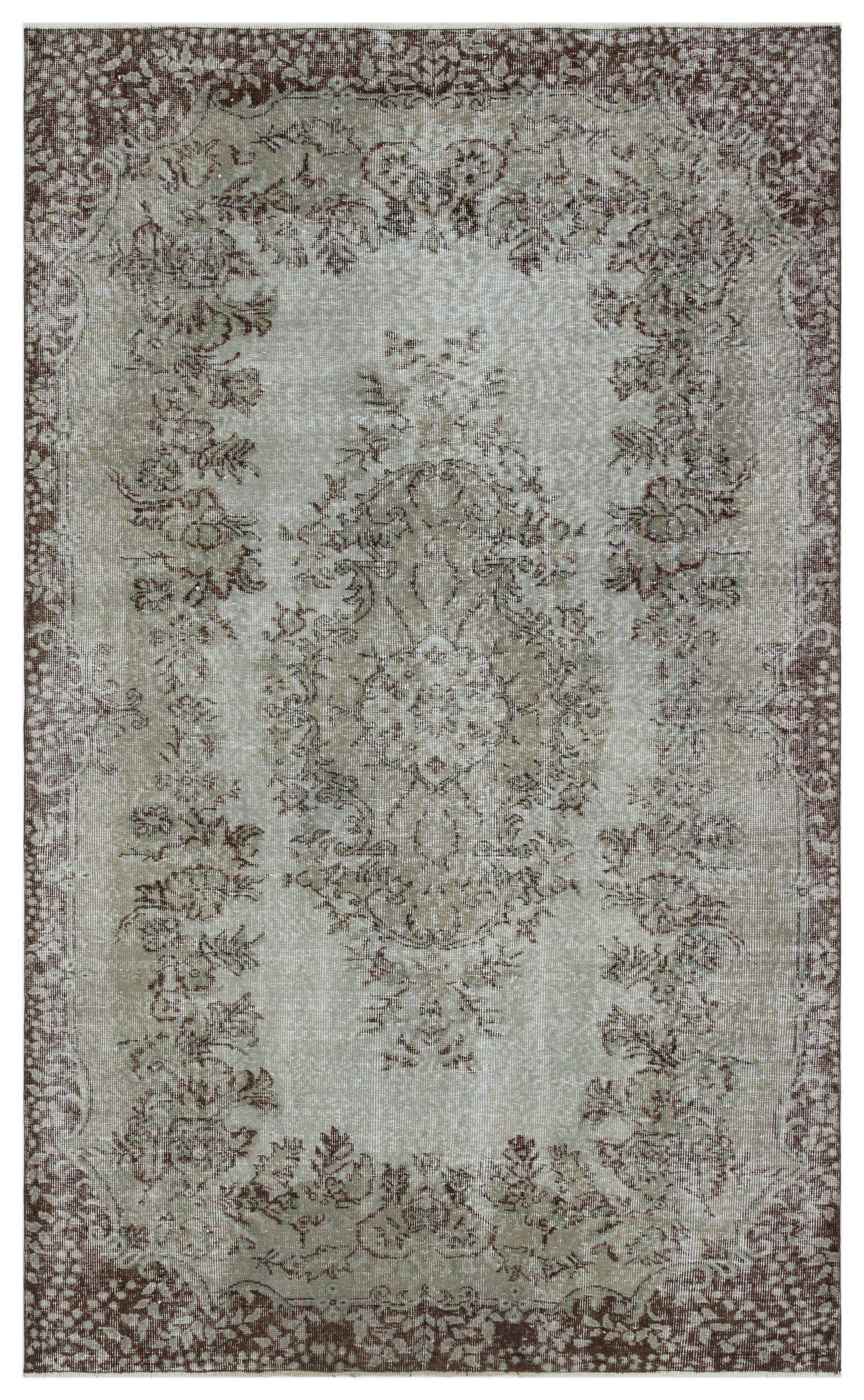 Gray Over Dyed Vintage Rug 5'3'' x 8'9'' ft 160 x 267 cm