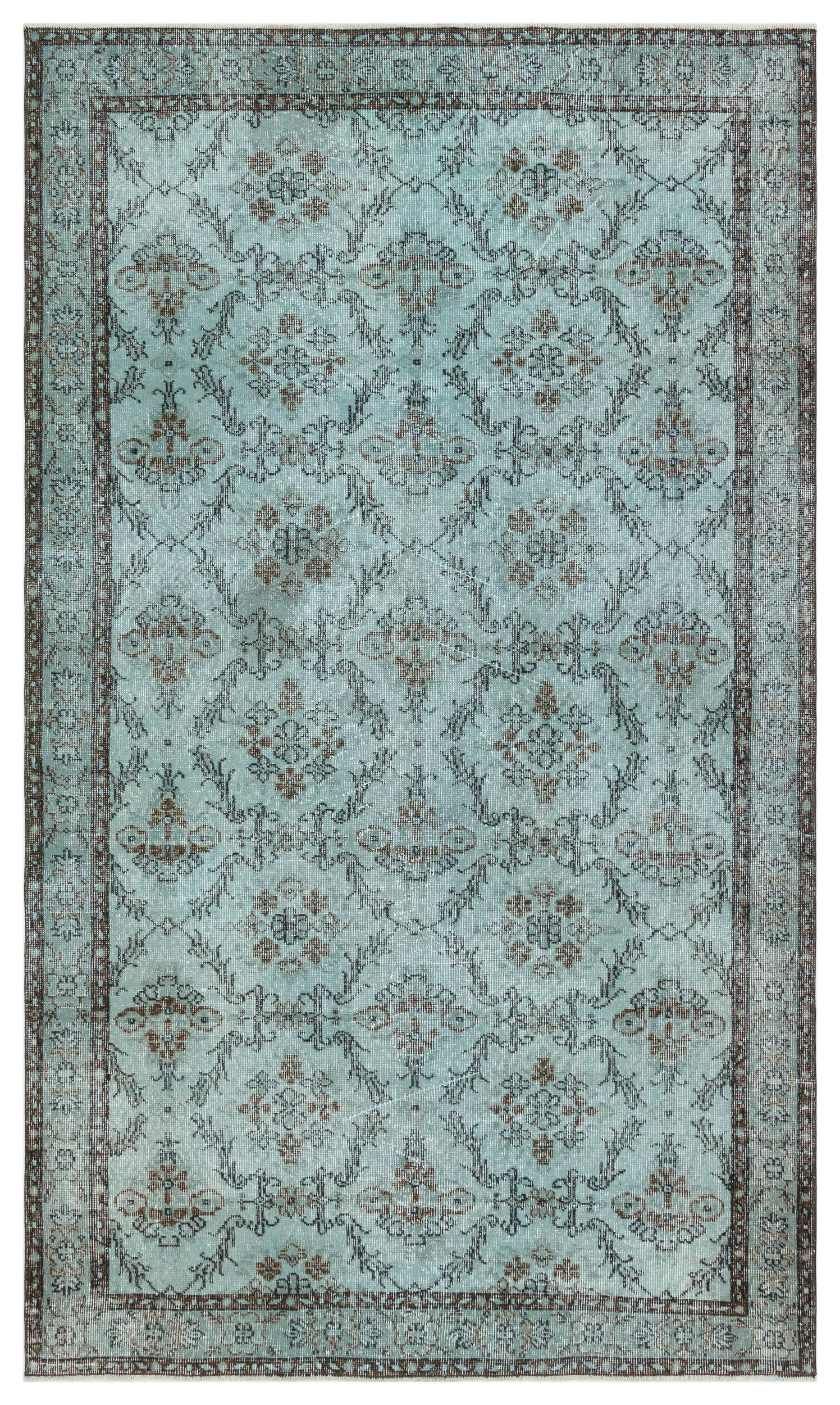 Green Over Dyed Vintage Rug 4'11'' x 8'7'' ft 151 x 262 cm