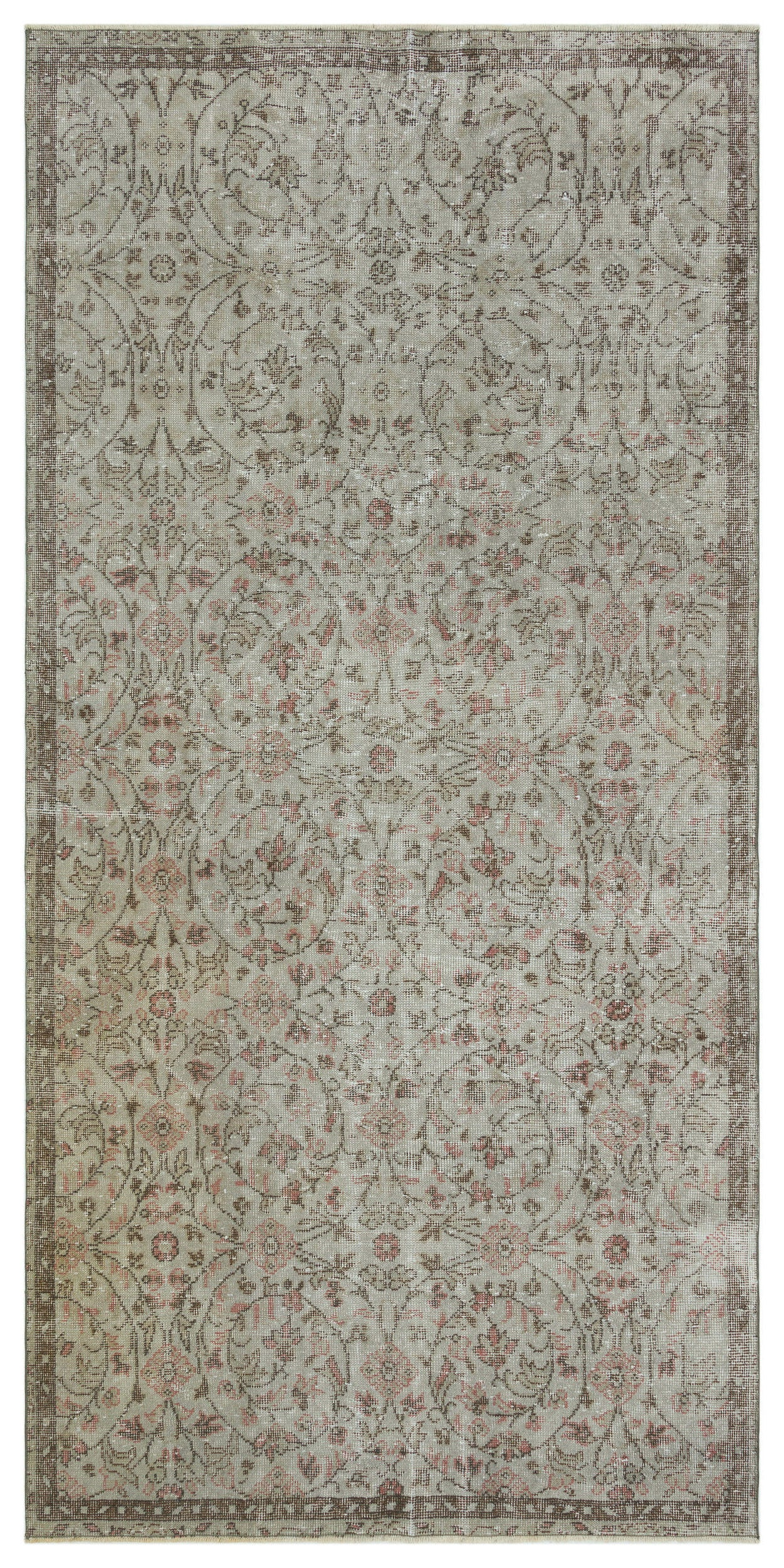 Gray Over Dyed Vintage Rug 4'6'' x 9'3'' ft 137 x 283 cm