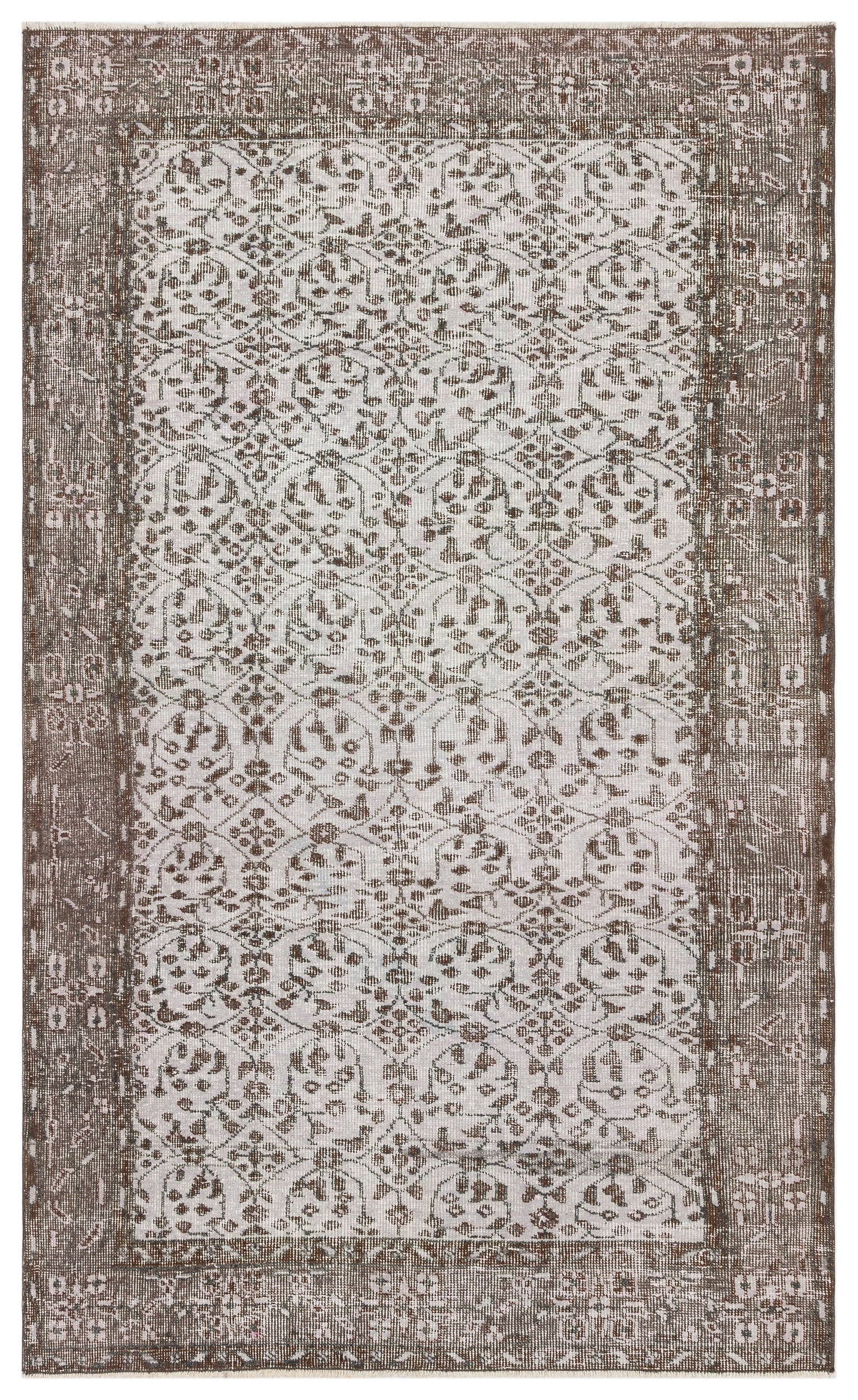 Gray Over Dyed Vintage Rug 4'4'' x 7'2'' ft 133 x 219 cm