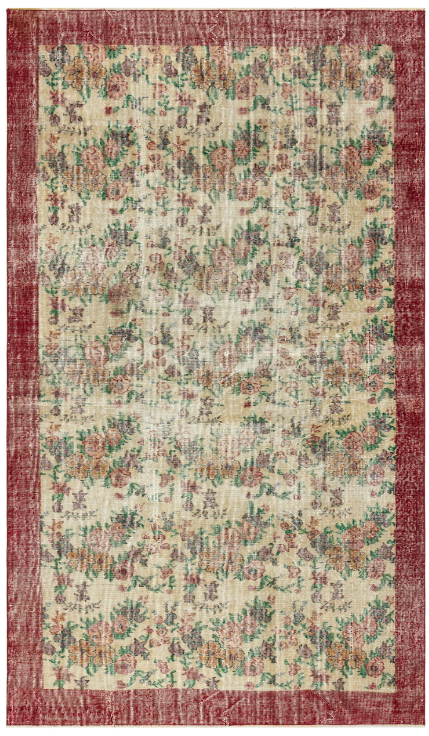 Retro Design Floral Over Dyed Vintage Rug 5'5'' x 9'1'' ft 166 x 278 cm