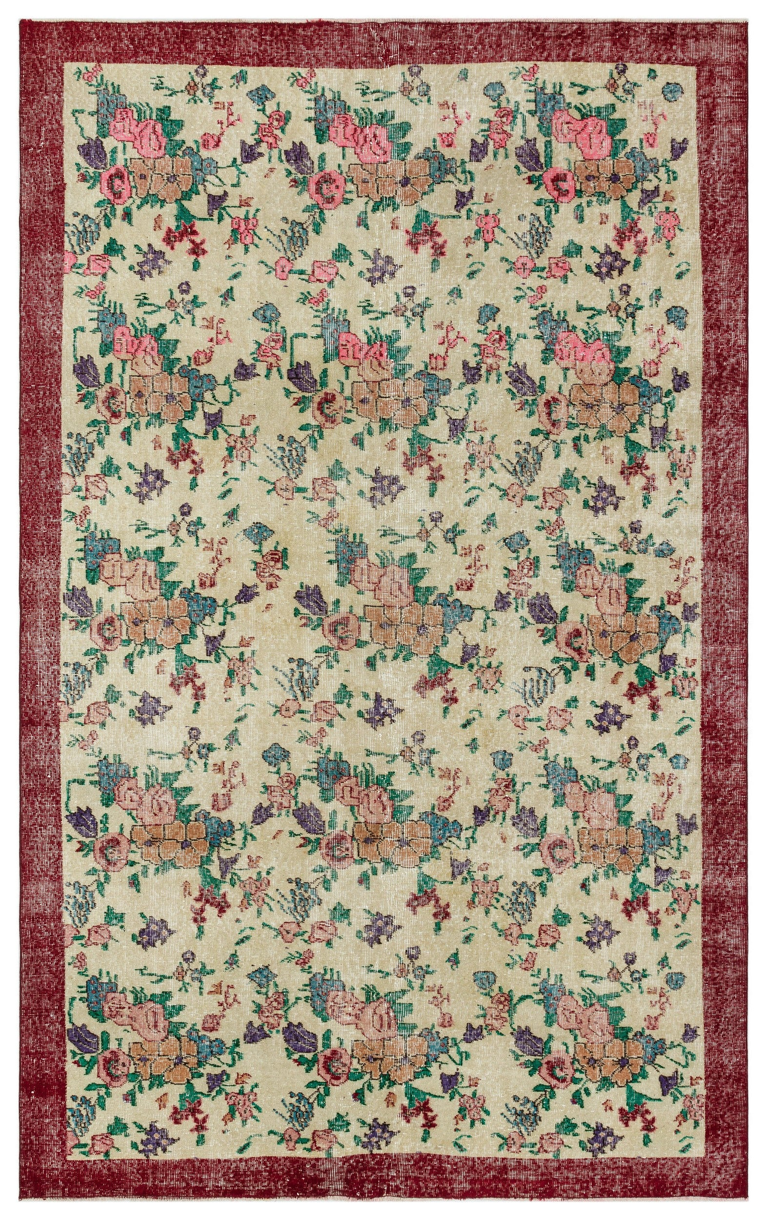 Naturel Over Dyed Vintage Rug 6'3'' x 9'8'' ft 190 x 295 cm