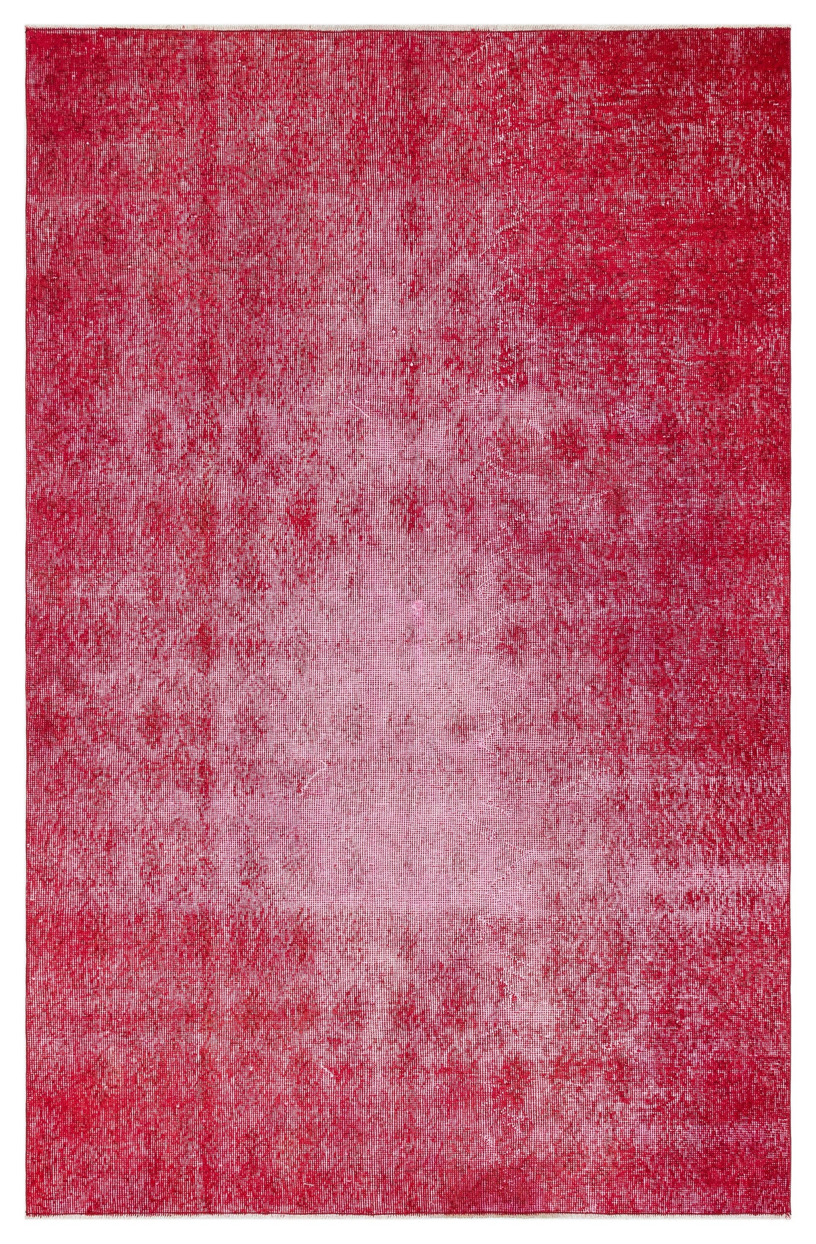 Red Over Dyed Vintage Rug 4'8'' x 7'4'' ft 143 x 224 cm