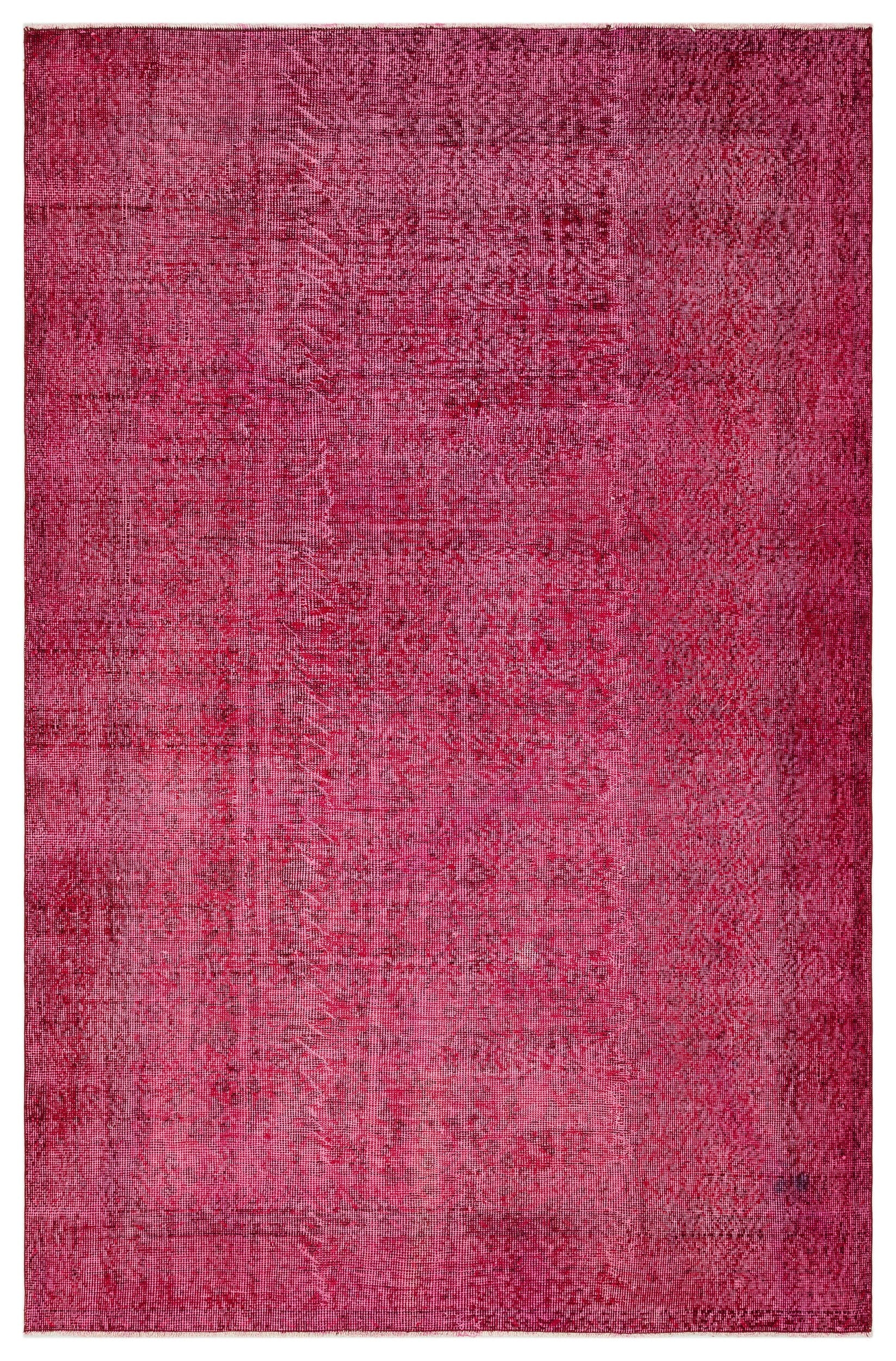 Fuchsia Over Dyed Vintage Rug 5'6'' x 8'7'' ft 168 x 261 cm