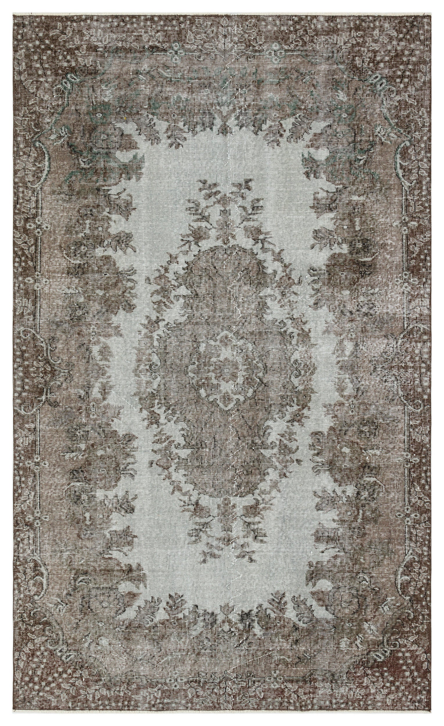 Brown Over Dyed Vintage Rug 5'1'' x 8'4'' ft 154 x 254 cm