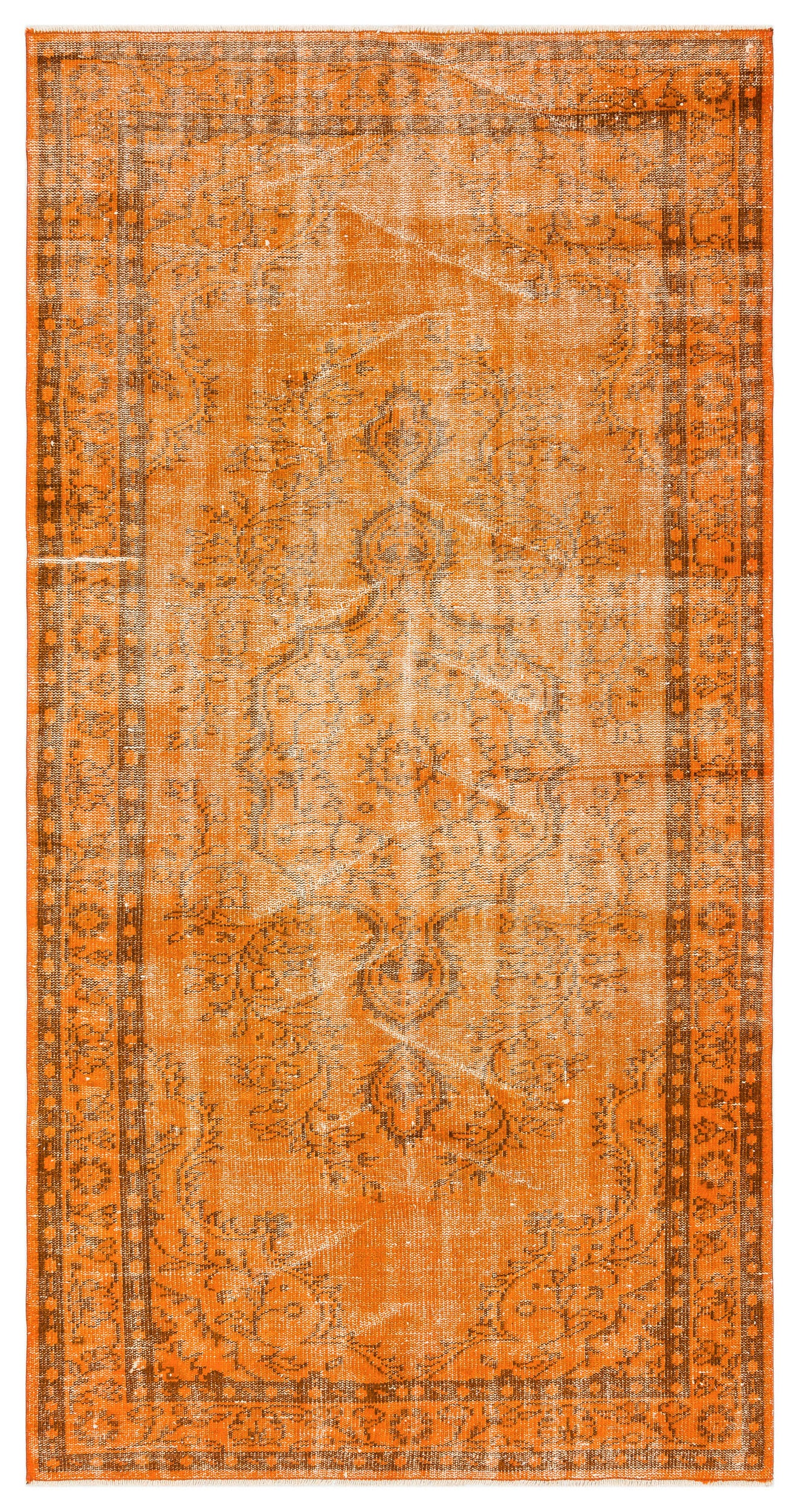 Orange Over Dyed Vintage Rug 4'6'' x 8'7'' ft 138 x 261 cm