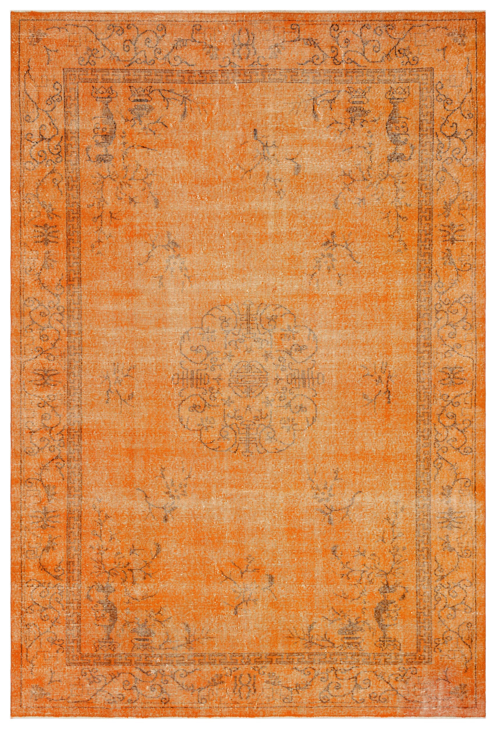 Orange Over Dyed Vintage Rug 7'2'' x 10'8'' ft 218 x 324 cm