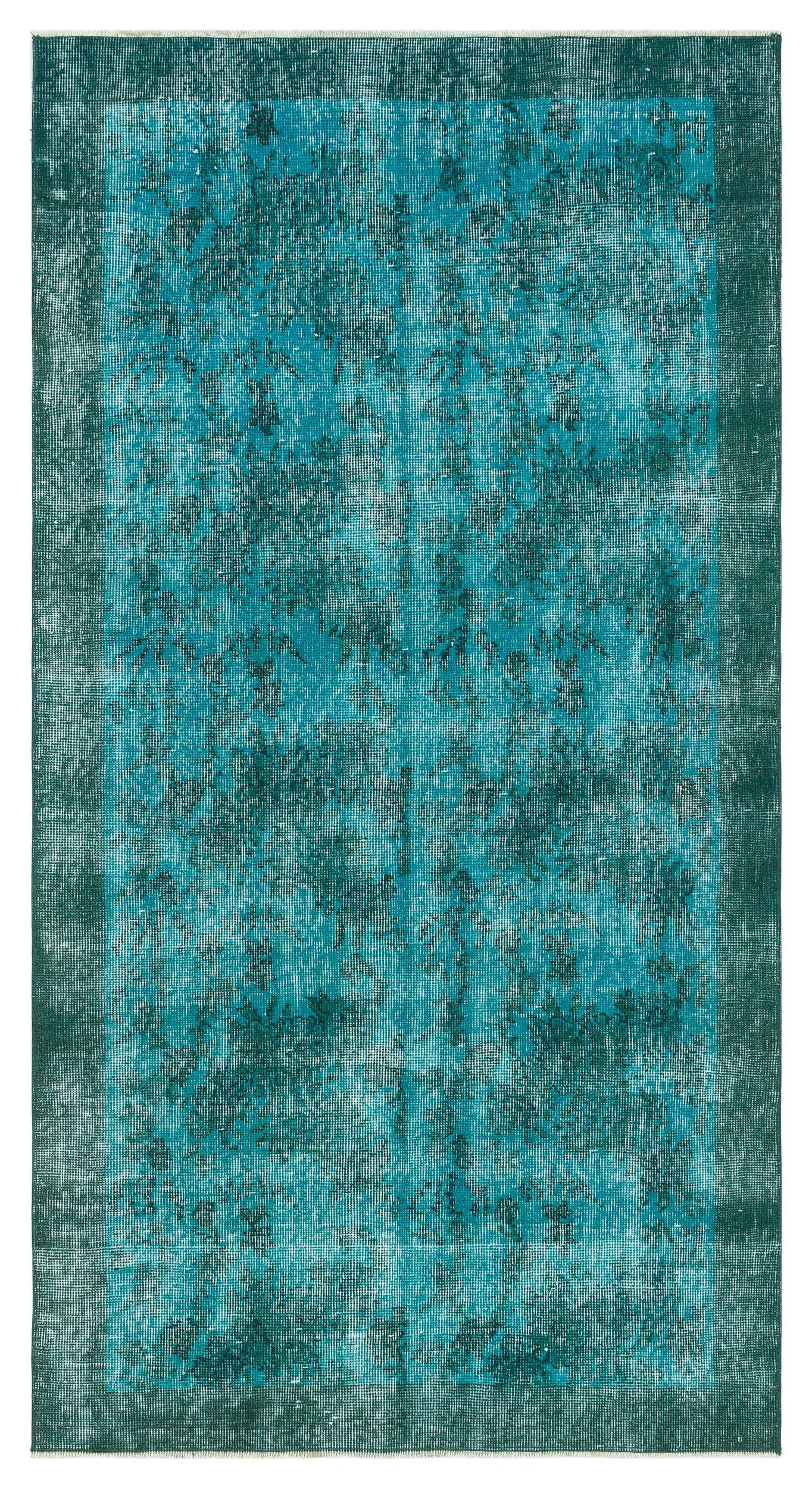 Turquoise  Over Dyed Vintage Rug 3'8'' x 6'11'' ft 111 x 210 cm