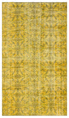 Yellow Over Dyed Vintage Rug 4'11'' x 8'5'' ft 150 x 256 cm