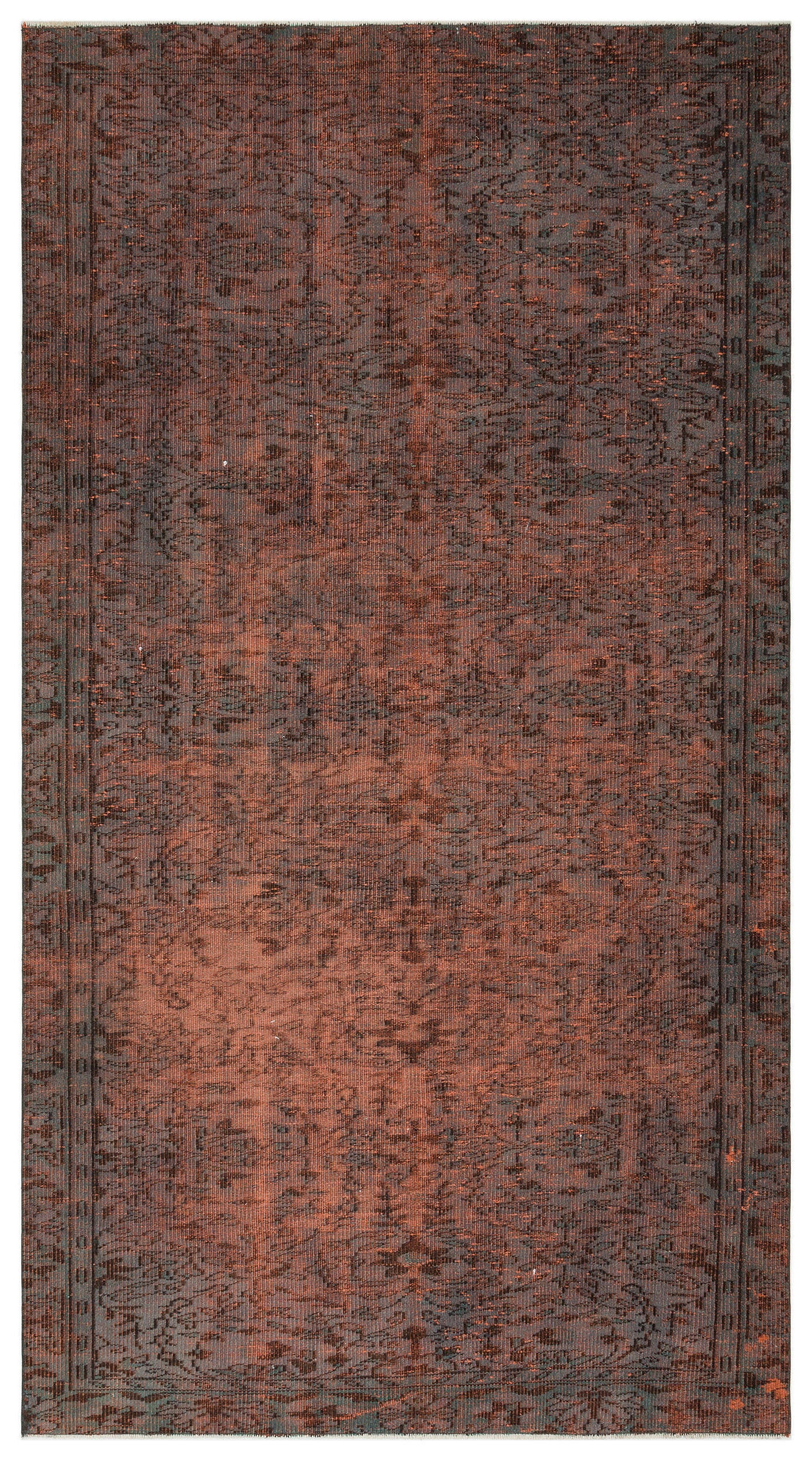 Brown Over Dyed Vintage Rug 5'3'' x 9'9'' ft 159 x 298 cm
