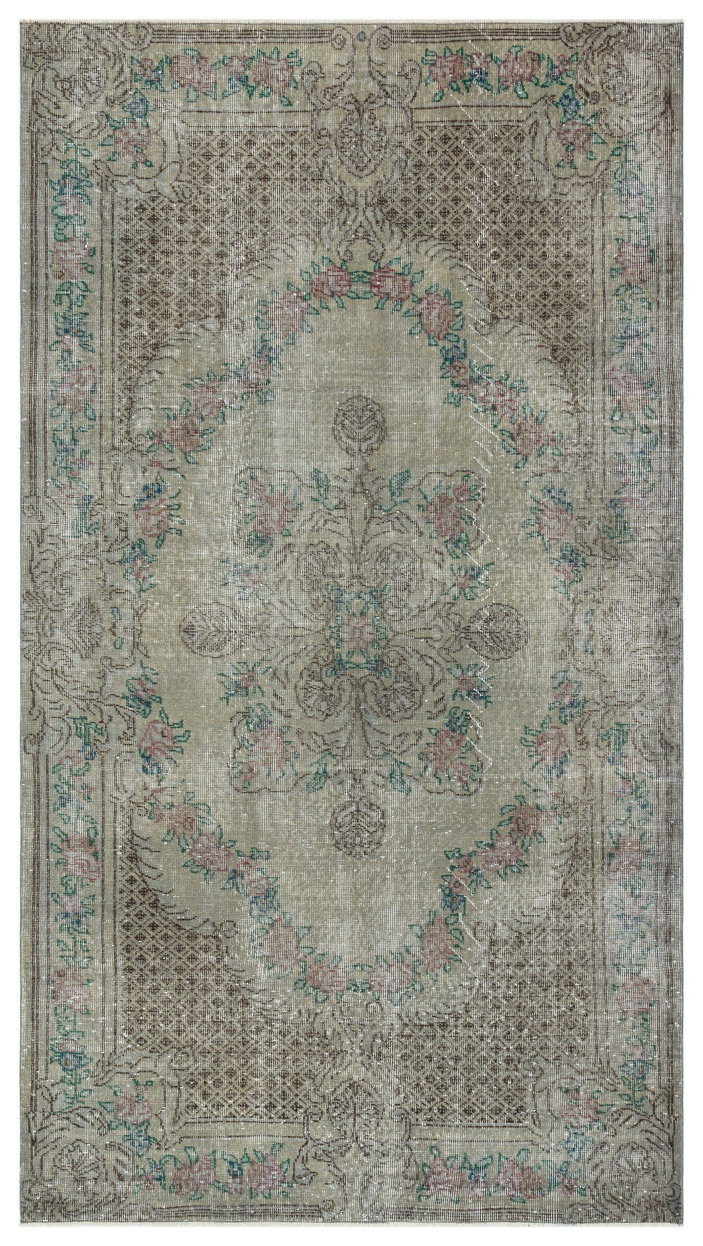 Gray Over Dyed Vintage Rug 5'1'' x 9'1'' ft 154 x 277 cm