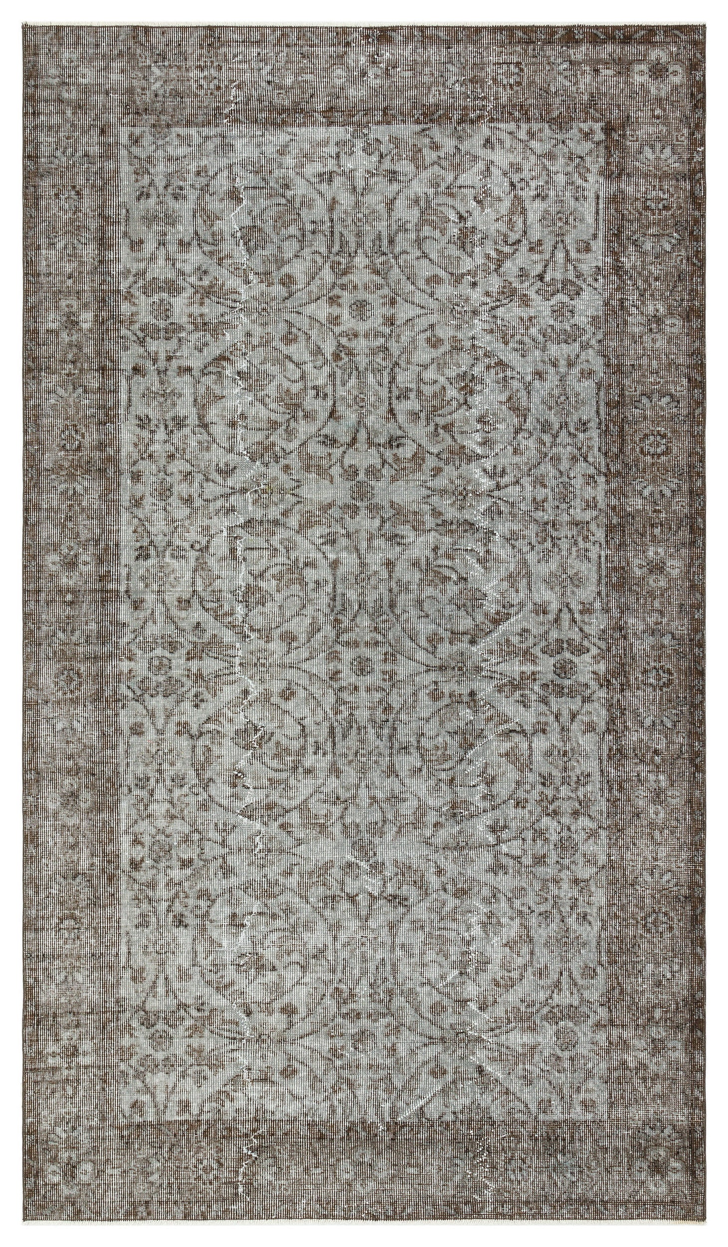 Gray Over Dyed Vintage Rug 4'8'' x 8'1'' ft 142 x 247 cm