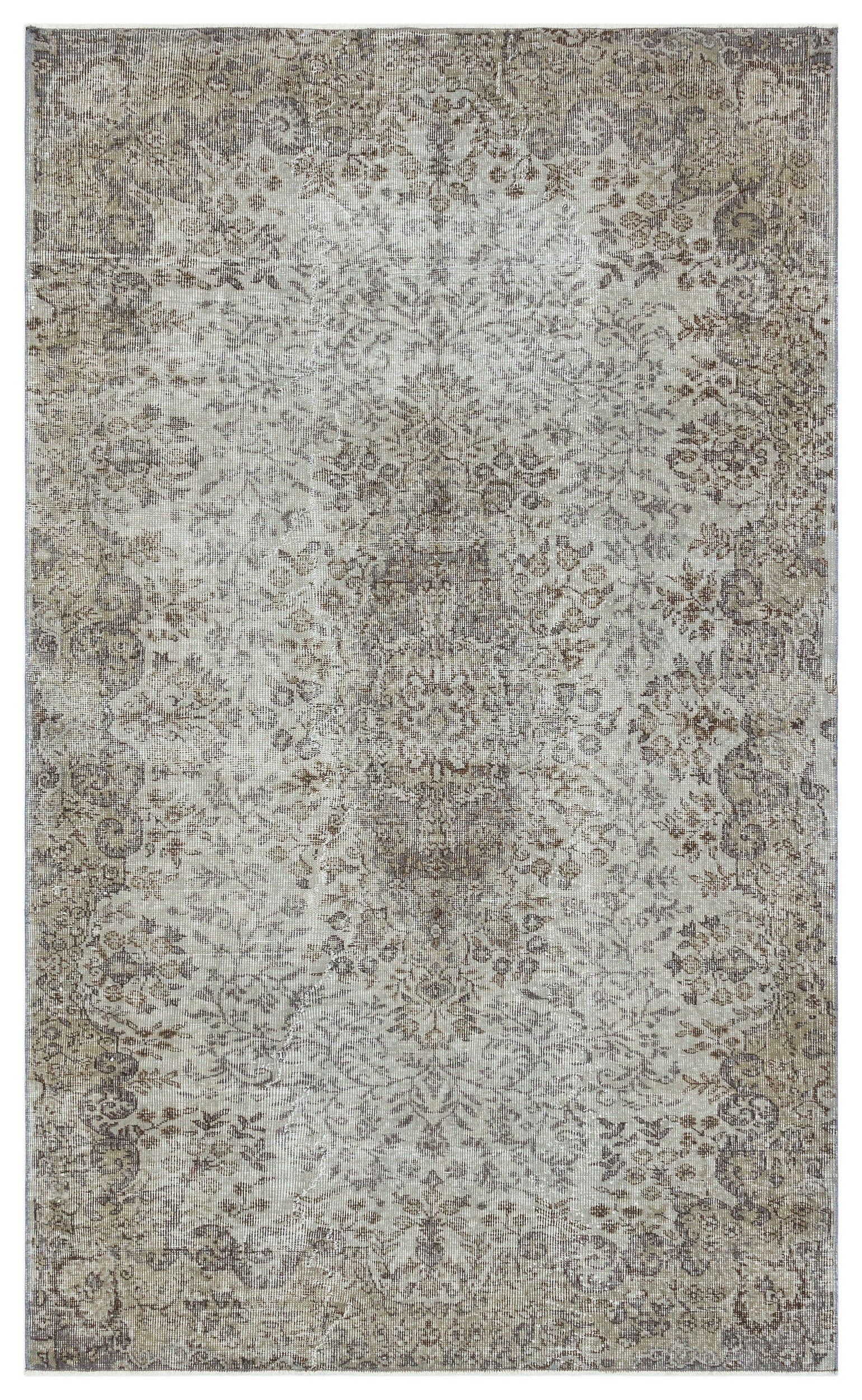 Gray Over Dyed Vintage Rug 5'1'' x 8'4'' ft 154 x 253 cm
