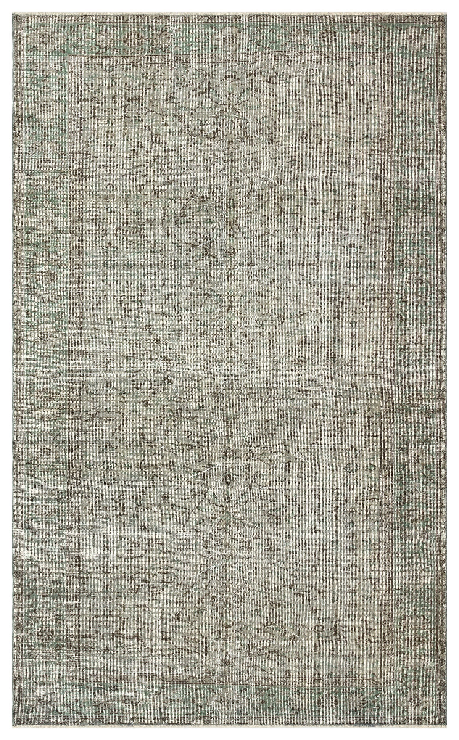Gray Over Dyed Vintage Rug 5'5'' x 8'10'' ft 164 x 269 cm