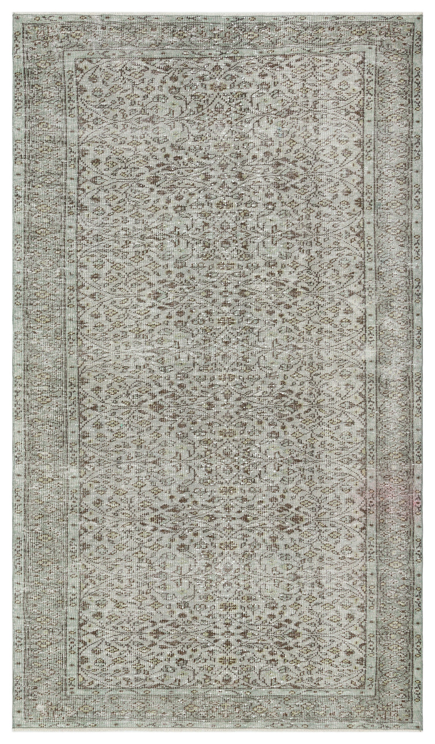 Gray Over Dyed Vintage Rug 5'1'' x 8'11'' ft 155 x 271 cm