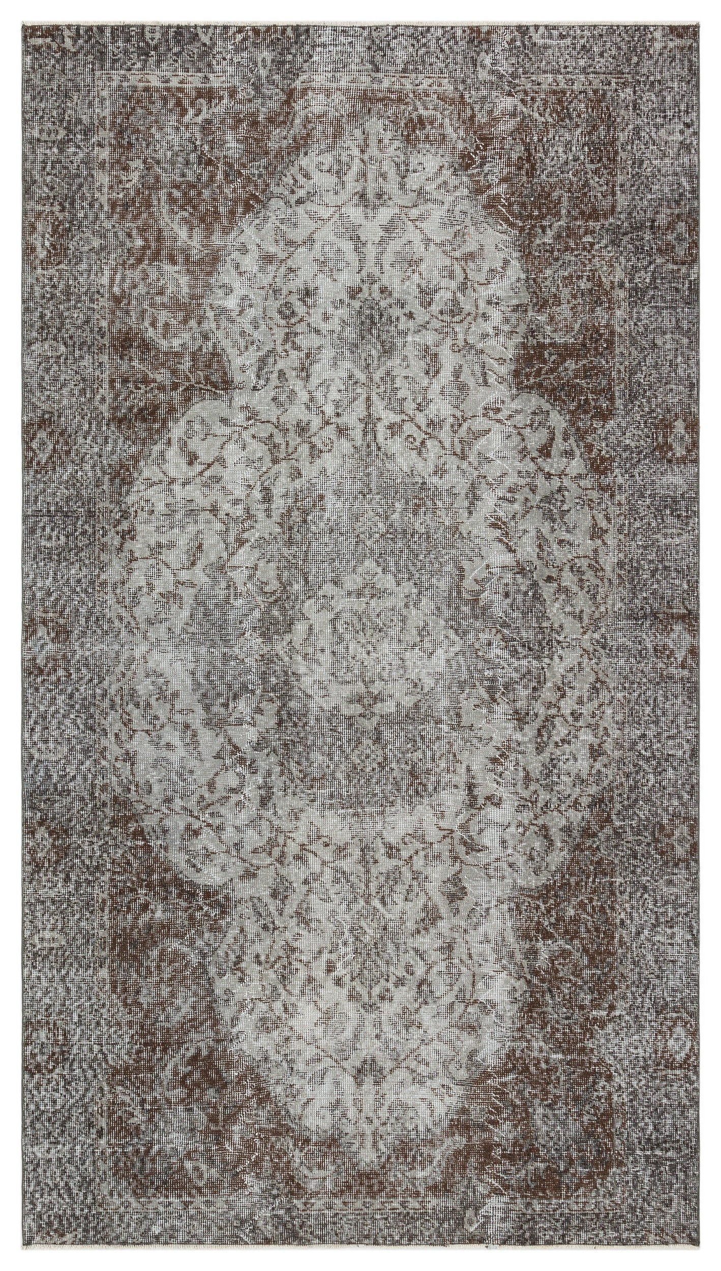 Gray Over Dyed Vintage Rug 4'9'' x 8'8'' ft 146 x 264 cm