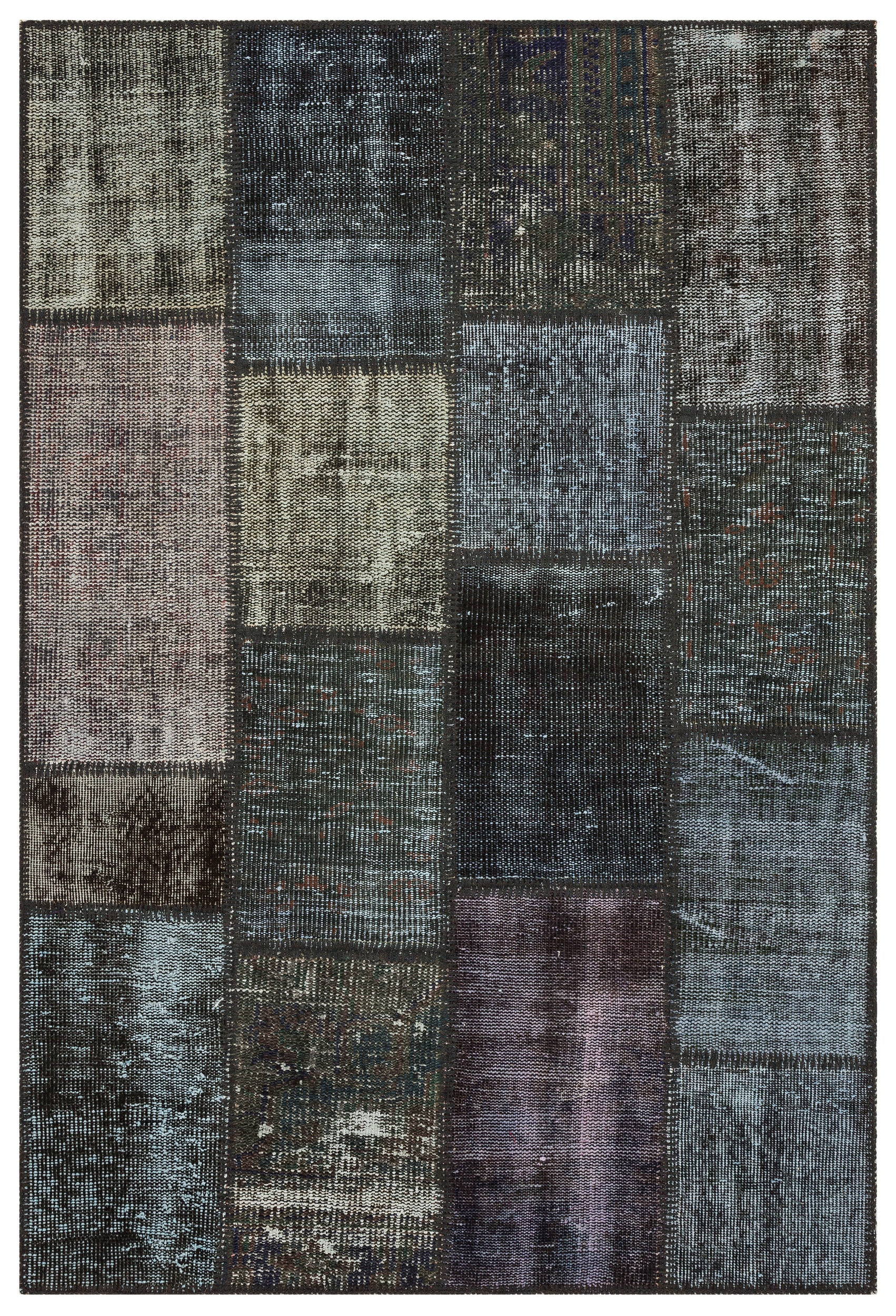 Gray Over Dyed Patchwork Unique Rug 3'11'' x 5'10'' ft 120 x 179 cm