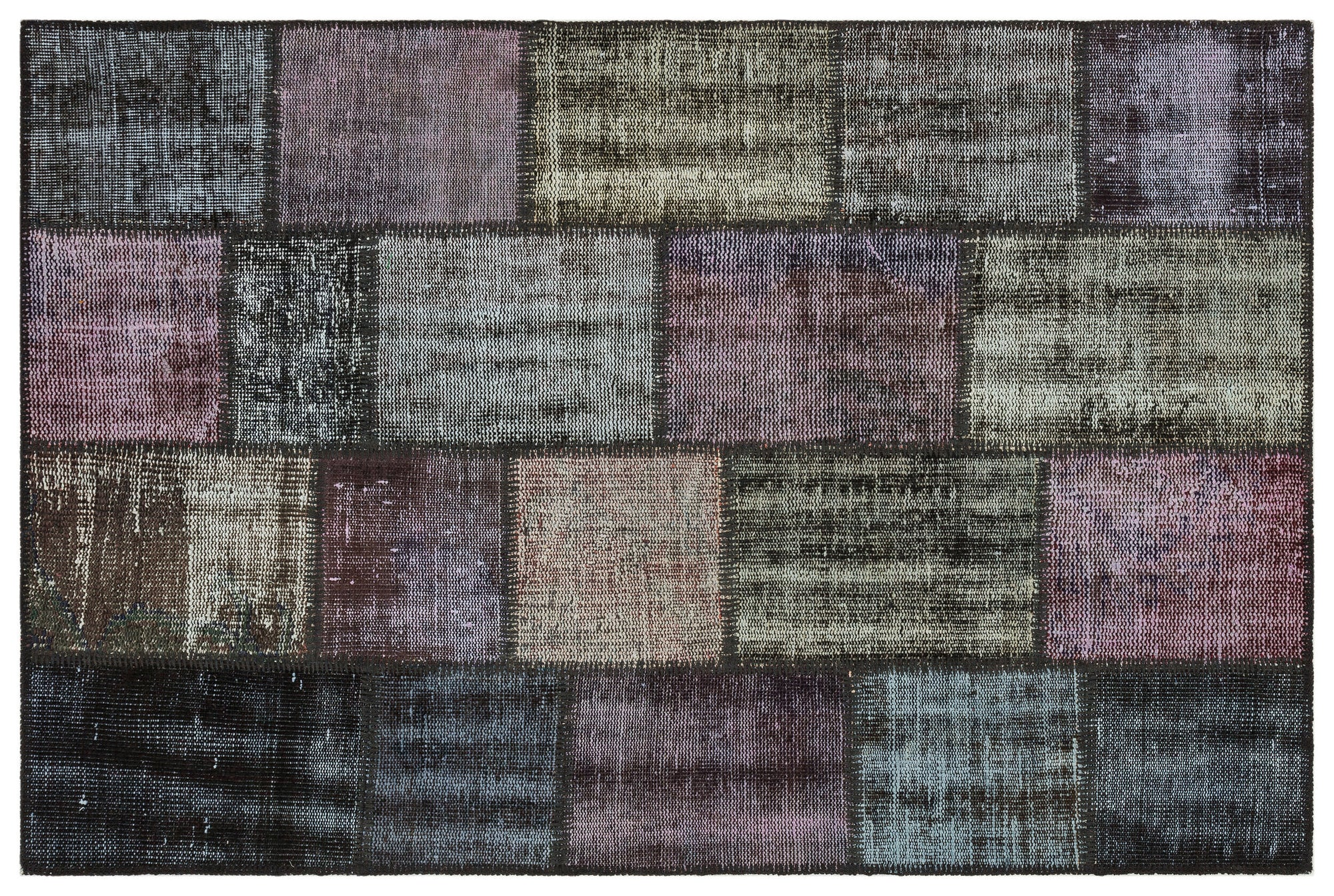 Gray Over Dyed Patchwork Unique Rug 3'11'' x 5'11'' ft 120 x 181 cm