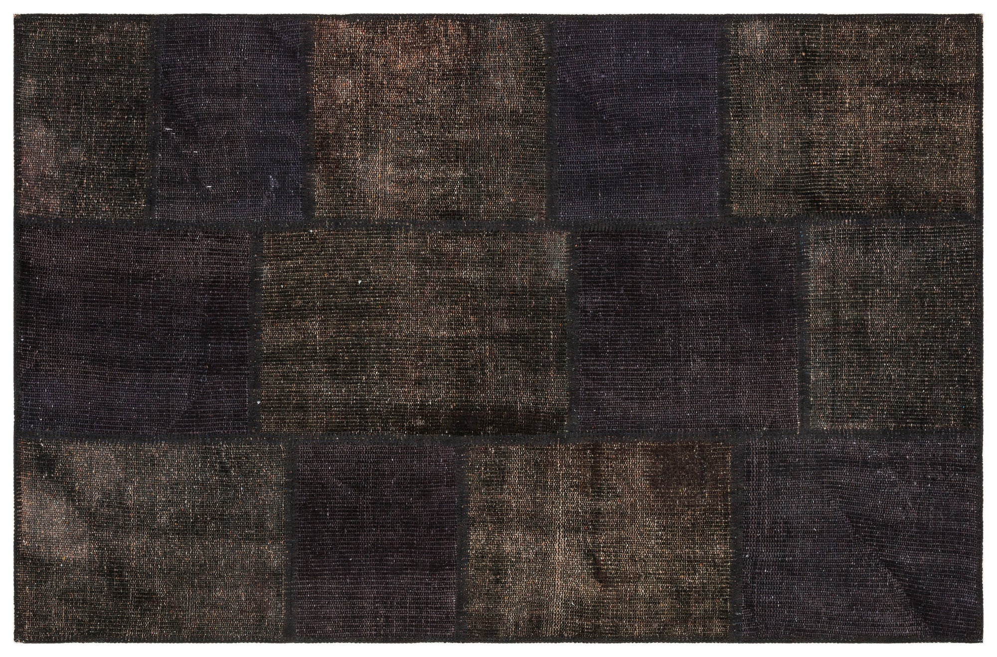 Gray Over Dyed Patchwork Unique Rug 3'10'' x 5'11'' ft 118 x 181 cm