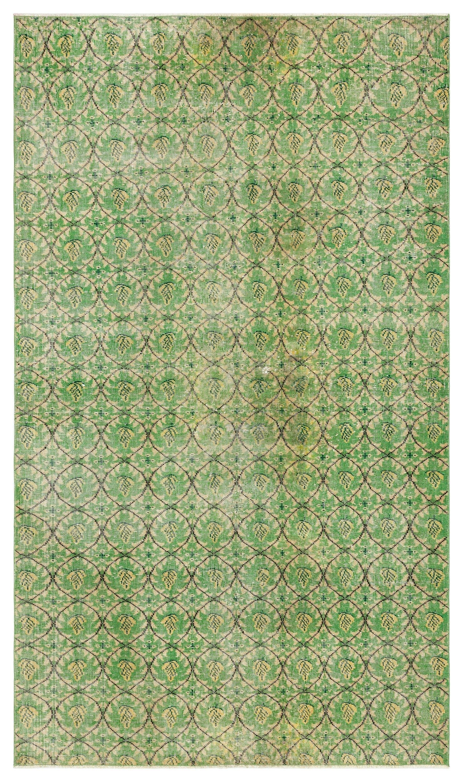 Green Over Dyed Vintage Rug 4'11'' x 8'6'' ft 151 x 258 cm