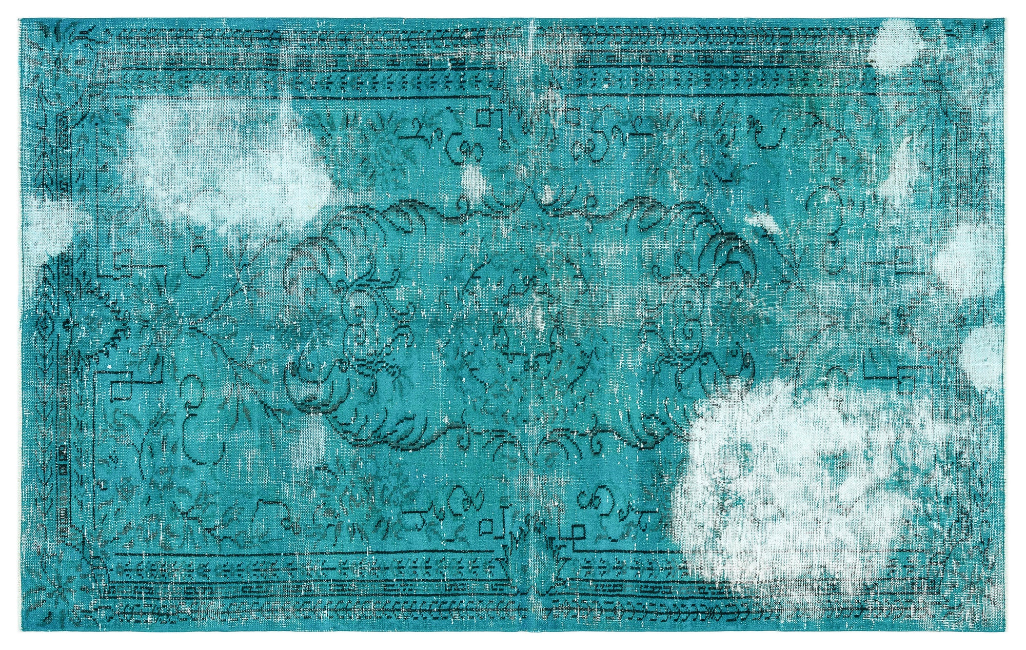 Turquoise  Over Dyed Vintage Rug 5'1'' x 8'4'' ft 156 x 253 cm