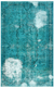 Traditional Design Turquoise Over Dyed Vintage Rug 5'1'' x 8'4'' ft 156 x 253 cm