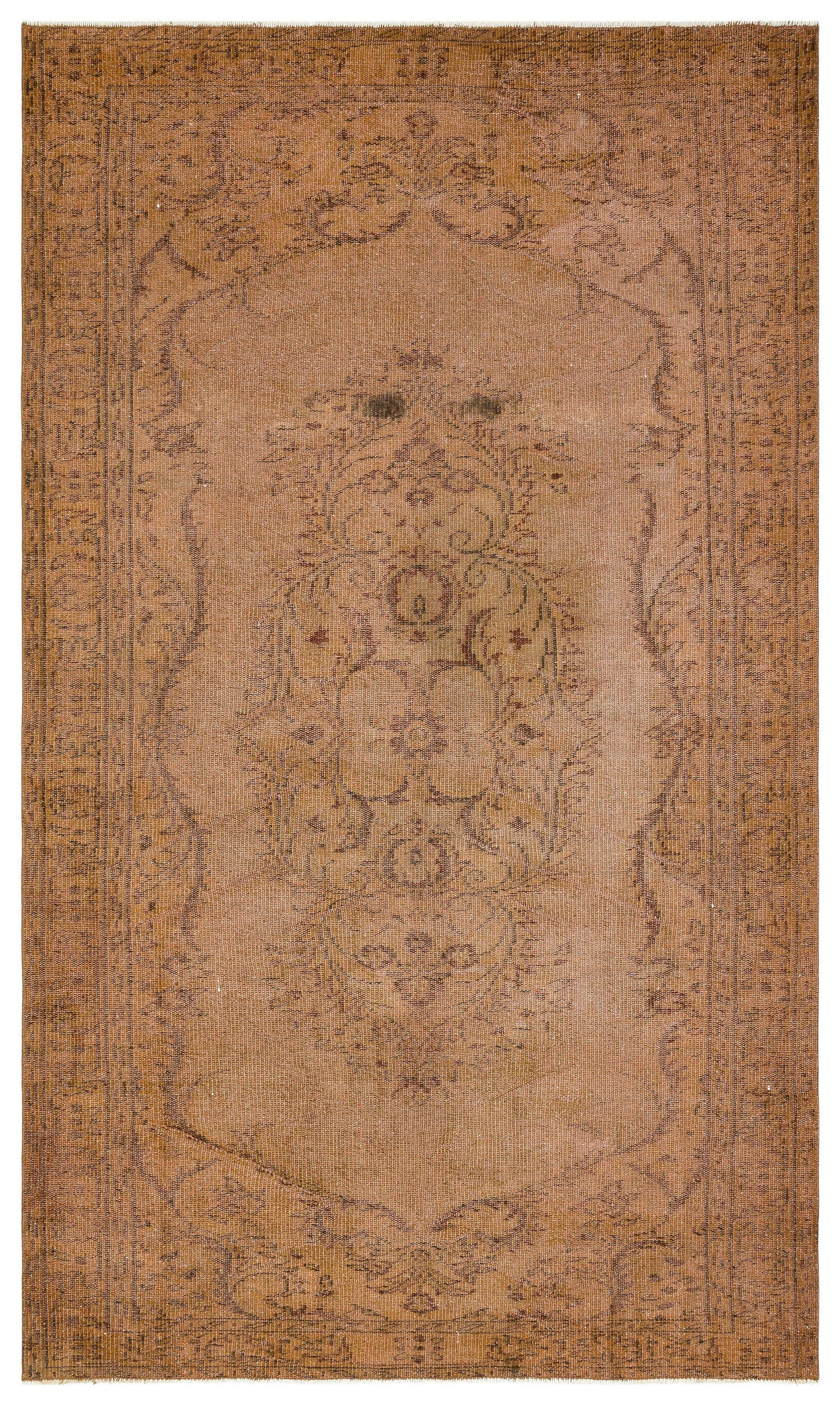 Brown Over Dyed Vintage Rug 5'7'' x 9'6'' ft 169 x 289 cm