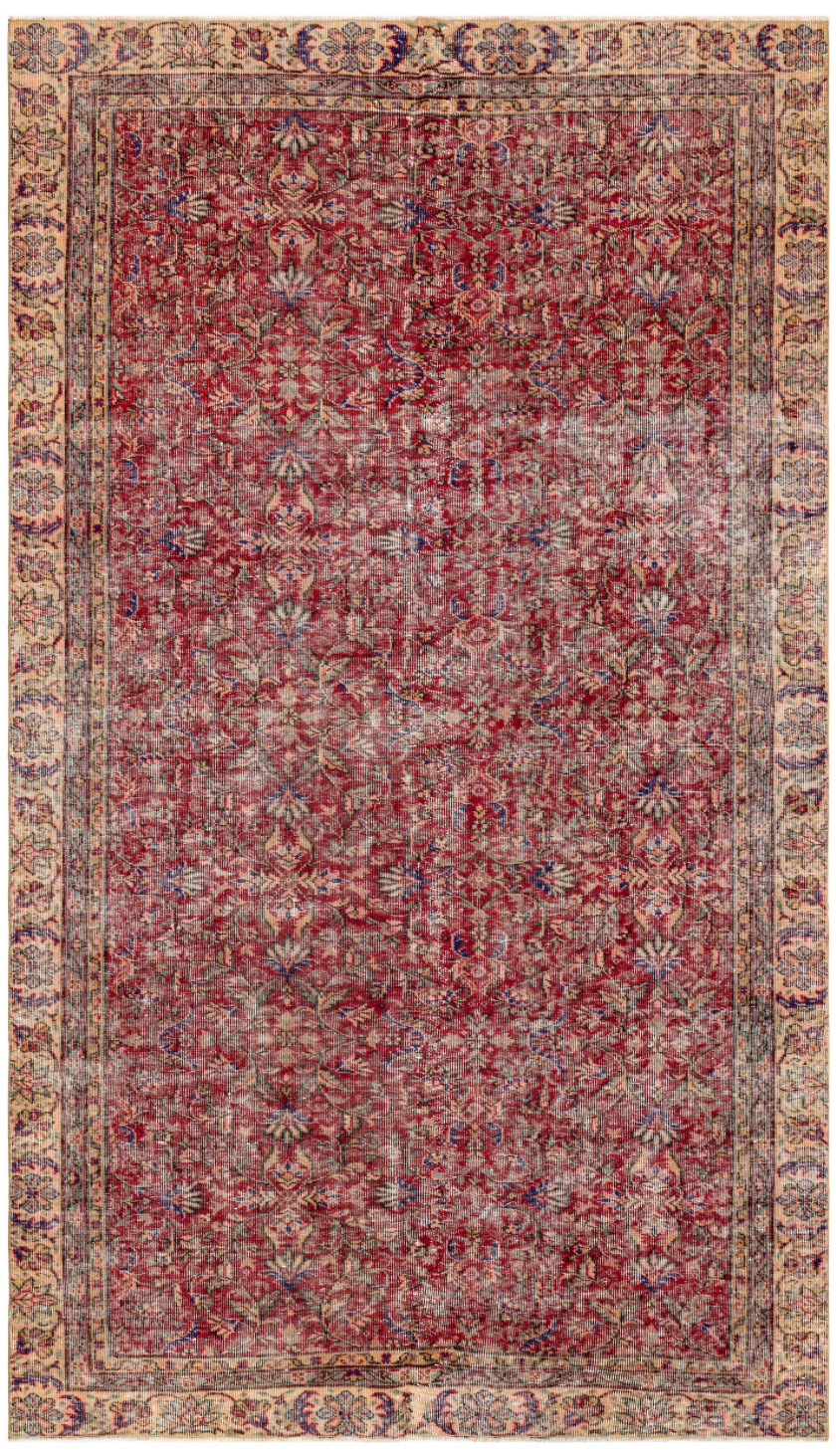 Retro Design Naturel Over Dyed Vintage Rug 5'10'' x 9'12'' ft 177 x 304 cm