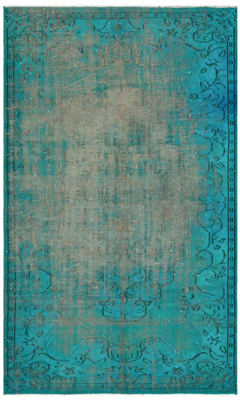 Retro Design Turquoise Over Dyed Vintage Rug 5'5'' x 8'11'' ft 166 x 273 cm