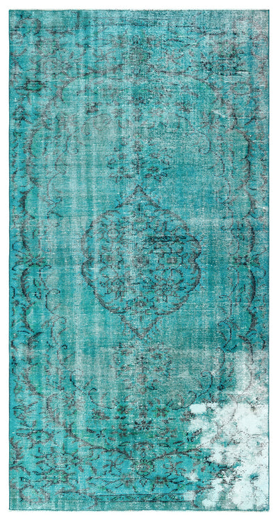 Turquoise  Over Dyed Vintage Rug 4'8'' x 8'9'' ft 141 x 266 cm